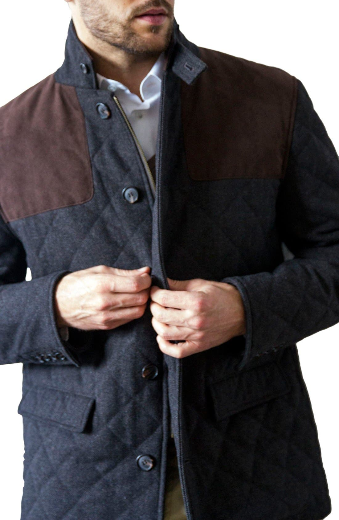 'Shooter' Wool Blend Quilted Jacket,                             Alternate thumbnail 8, color,