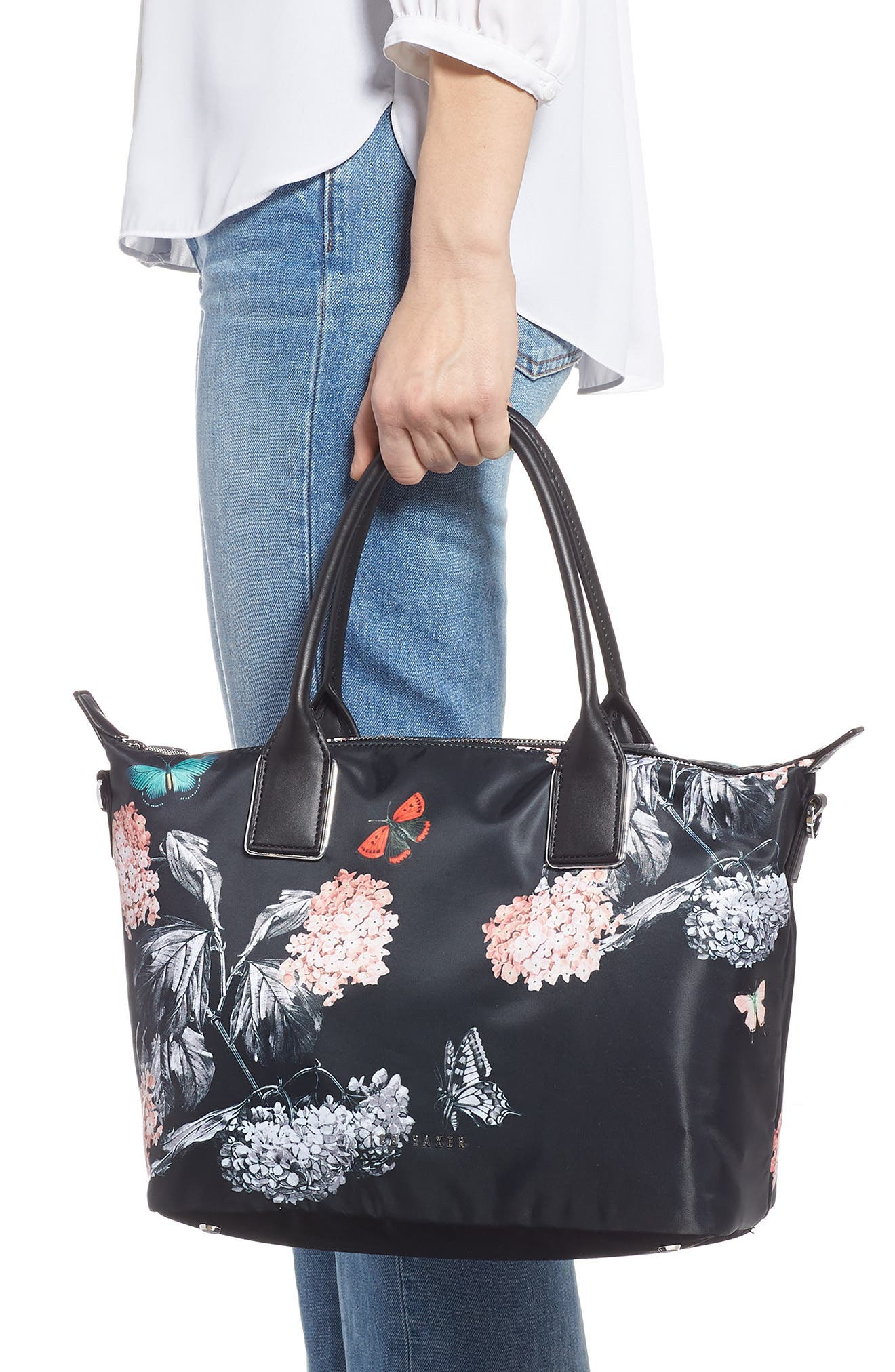 Small Margey Narrnia Print Tote,                             Alternate thumbnail 2, color,                             BLACK