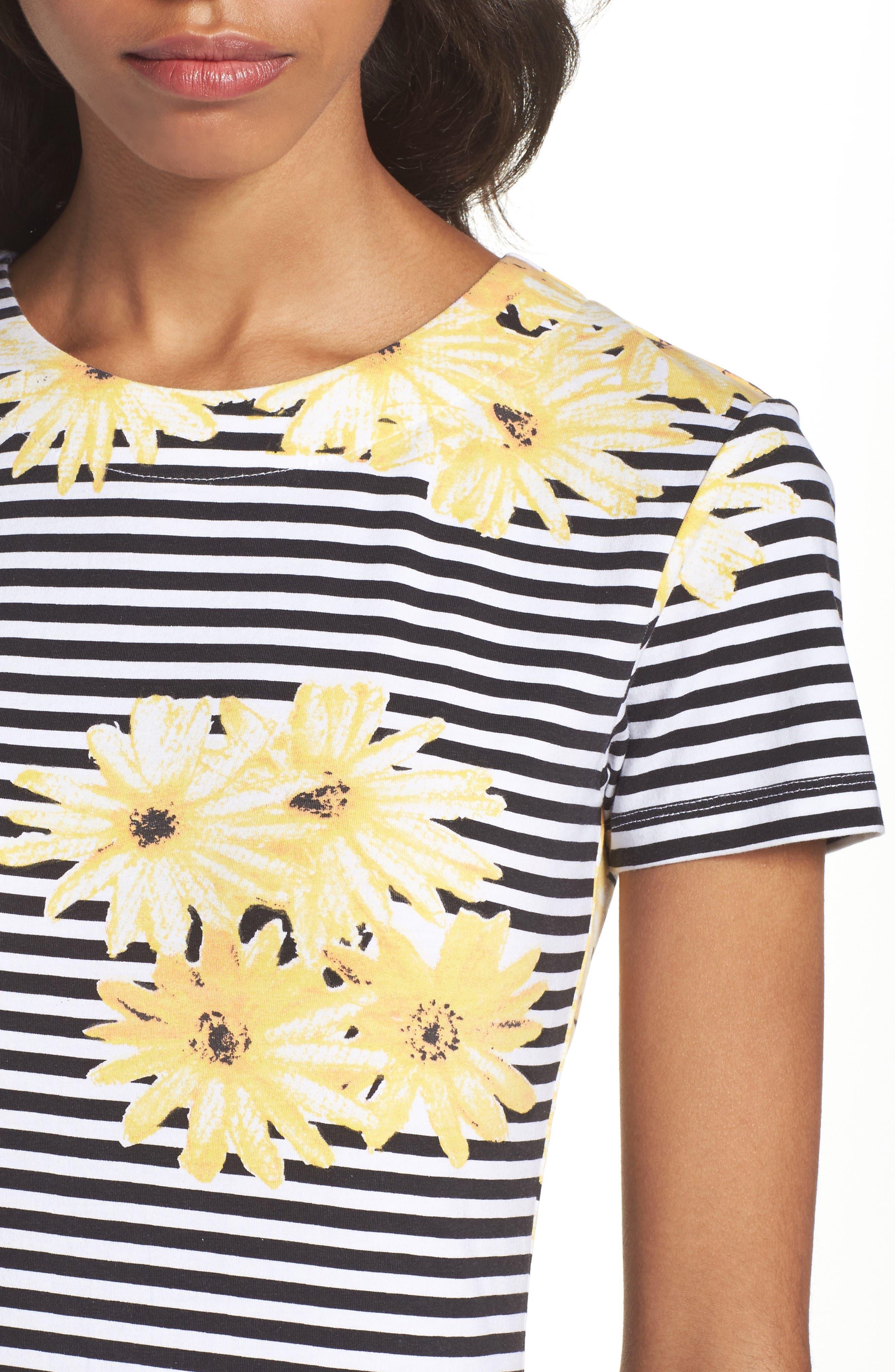 Sunflower Stripe Sheath Dress,                             Alternate thumbnail 4, color,                             007