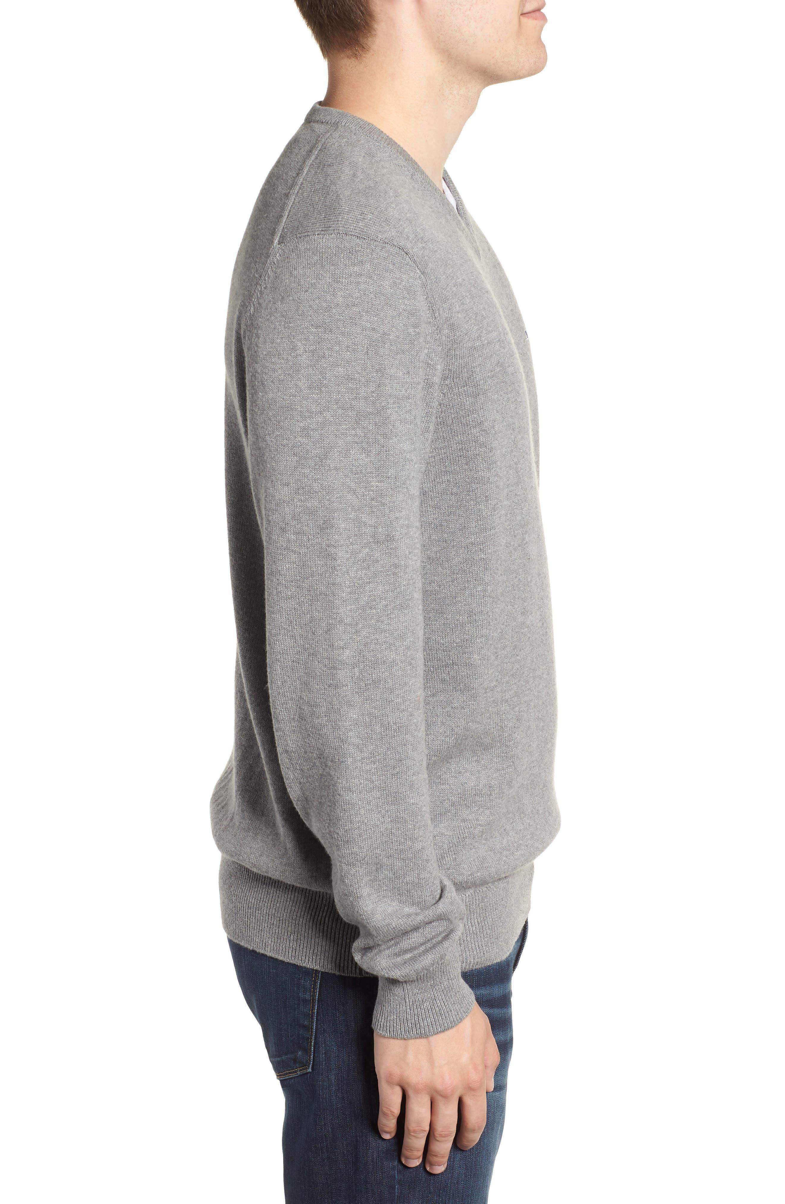 Cotton & Cashmere V-Neck Sweater,                             Alternate thumbnail 3, color,                             GRAY HEATHER