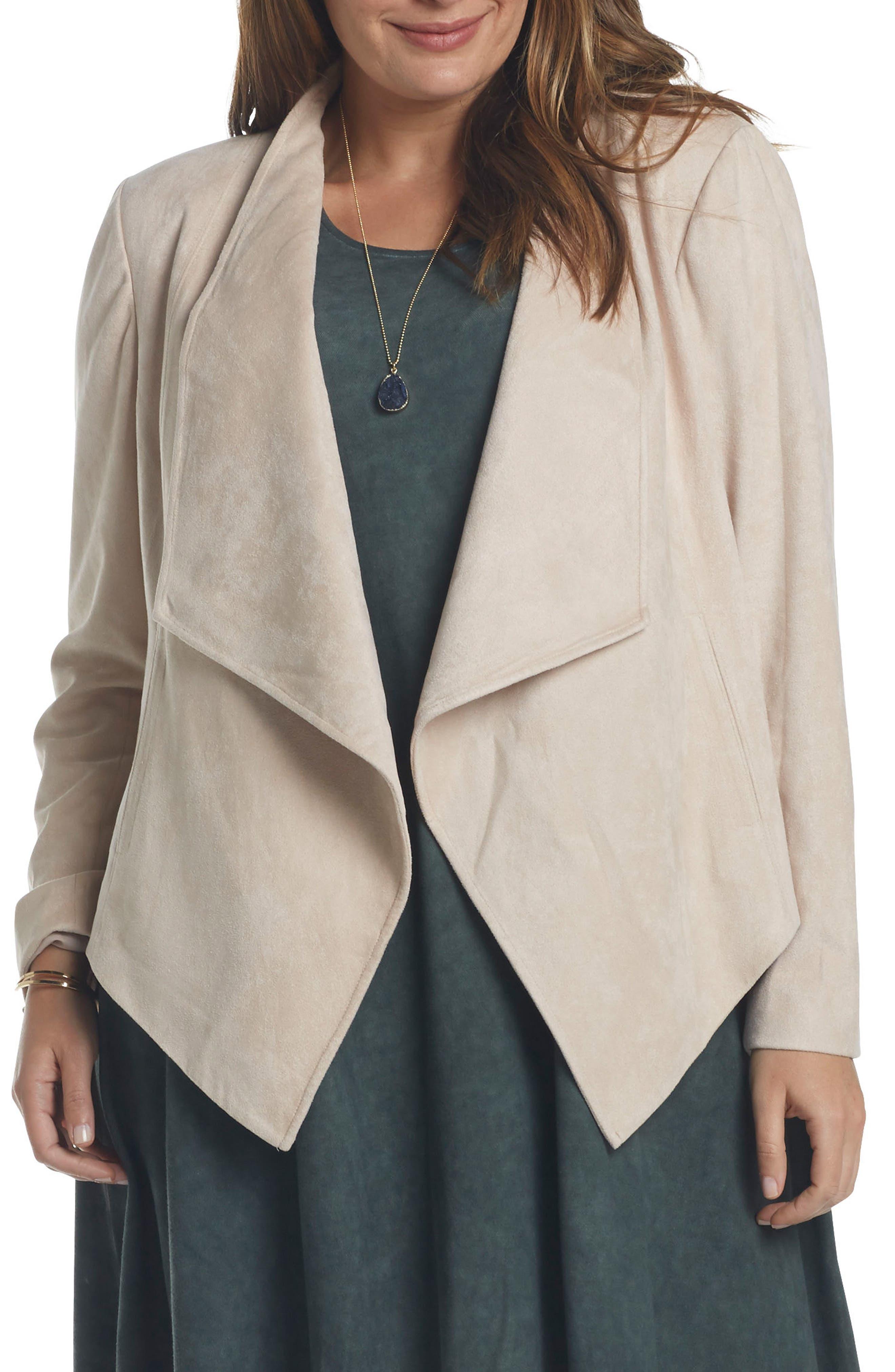 Sybil Faux Suede Drape Front Jacket,                             Main thumbnail 1, color,                             285