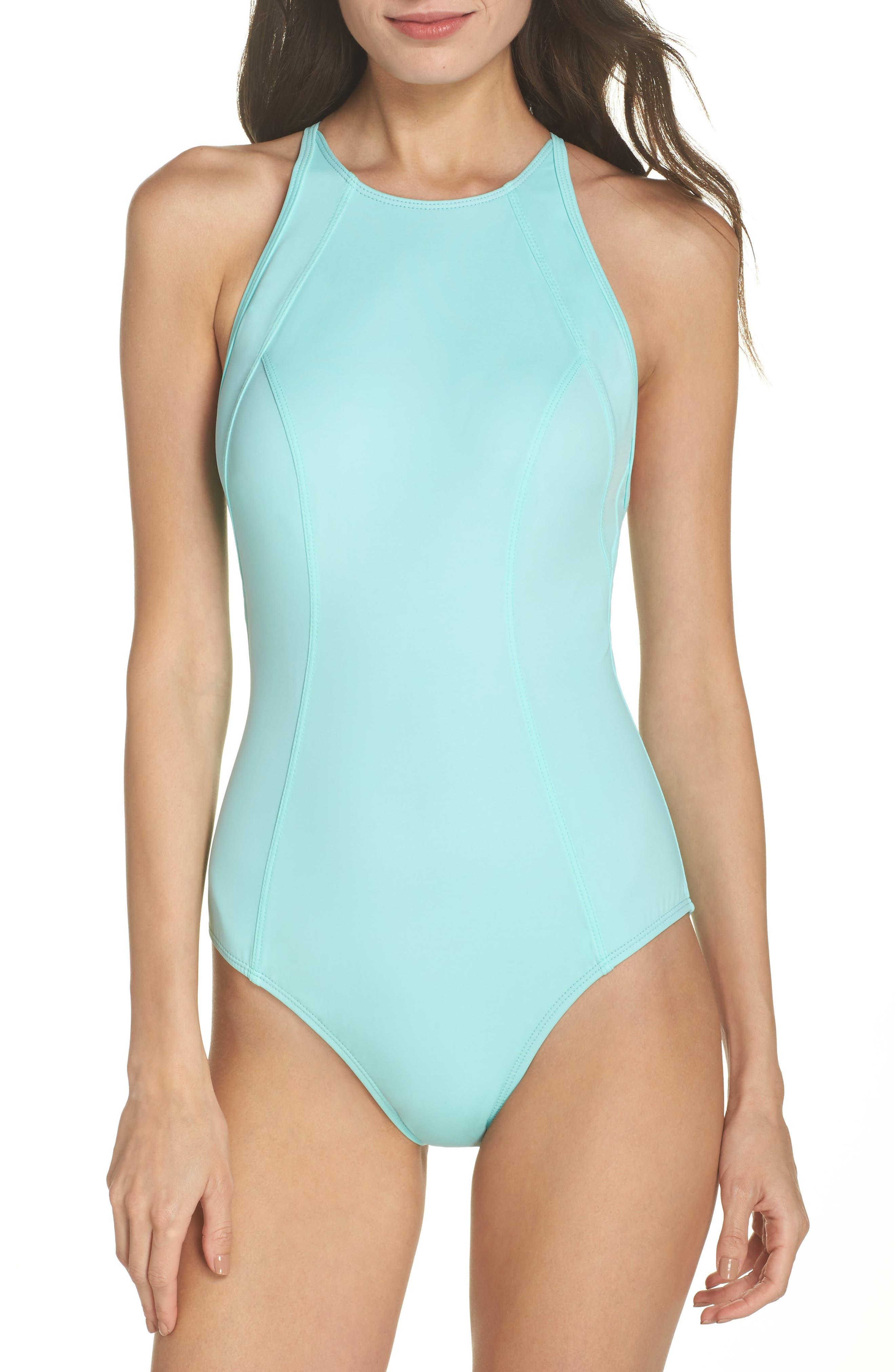 One-Piece Swimsuit,                         Main,                         color, TEAL ARUBA