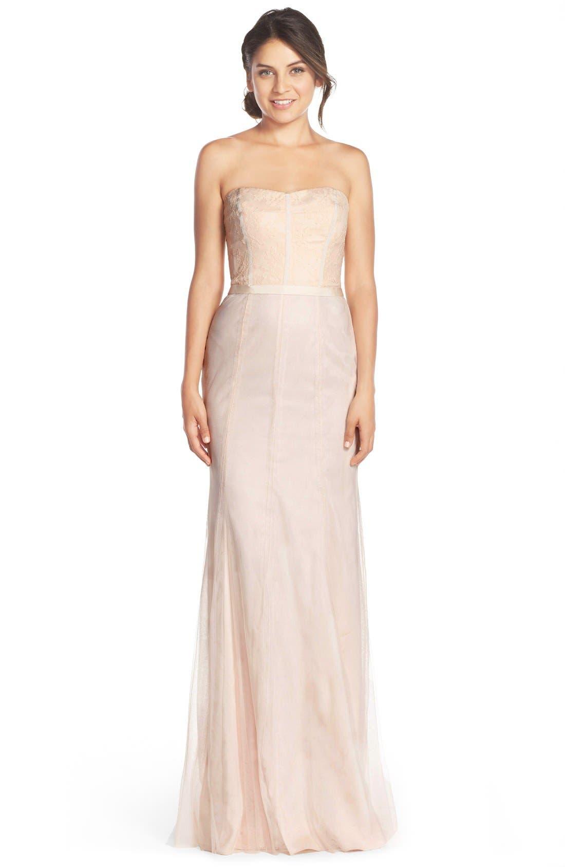 MONIQUE LHUILLIER BRIDESMAIDS Strapless Lace & Tulle Gown, Main, color, 697