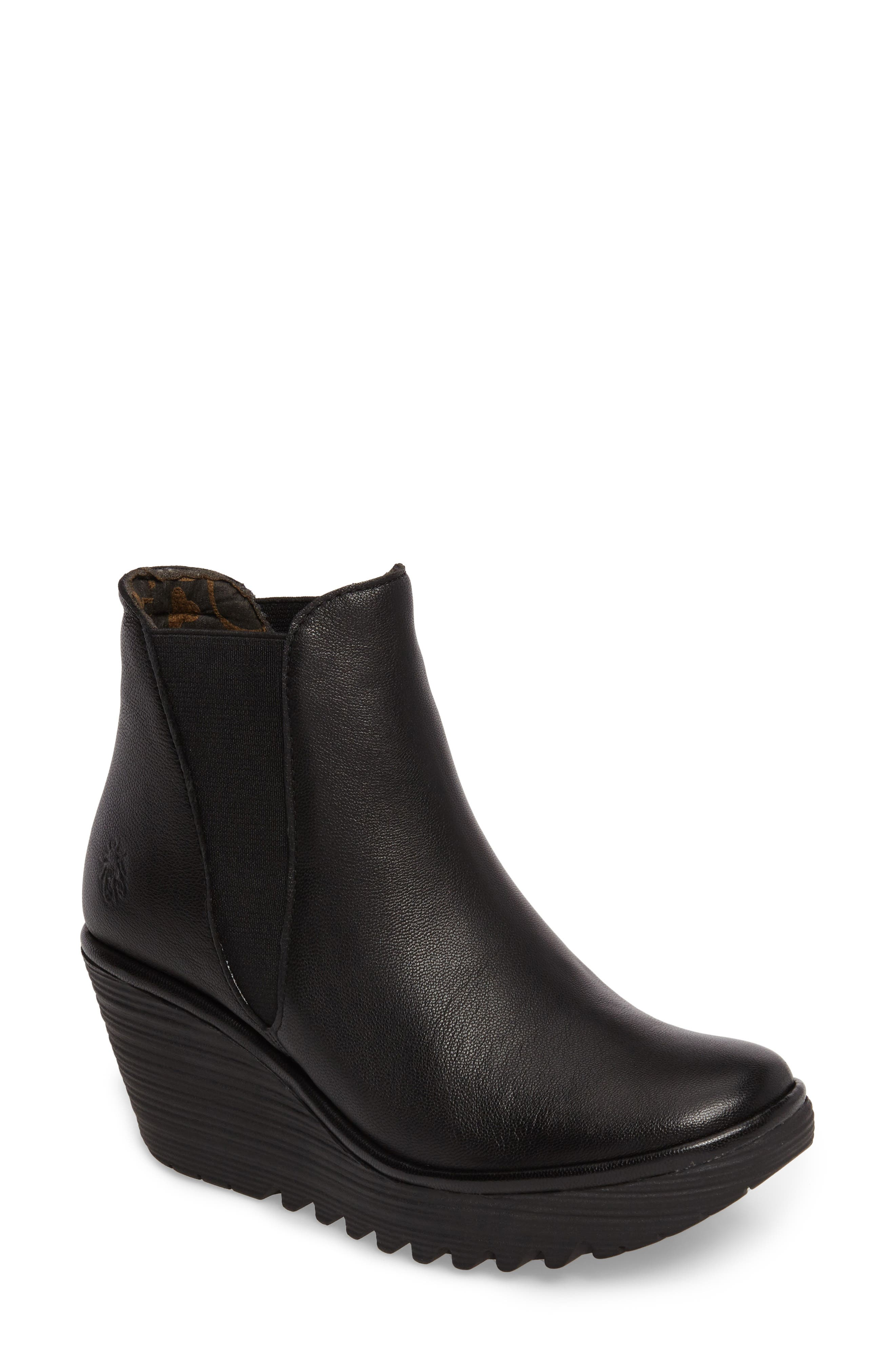 Yoss Wedge Bootie,                             Main thumbnail 1, color,                             001