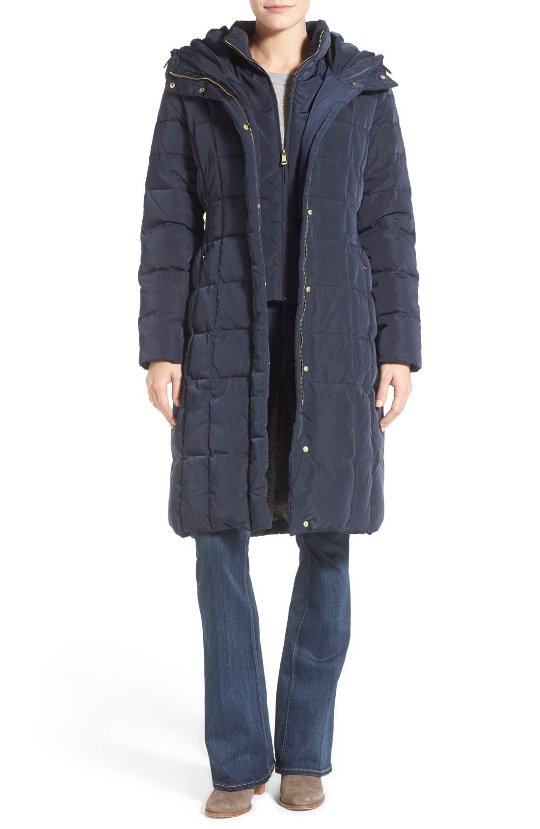 Cole Haan Bib Insert Down & Feather Fill Coat, Blue