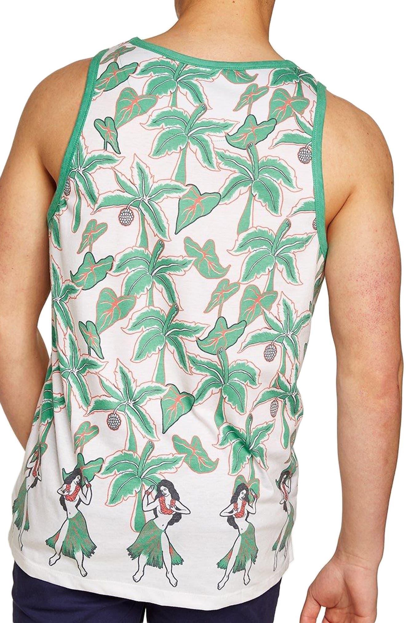 Oversize Hula Palm Print Tank,                             Alternate thumbnail 2, color,