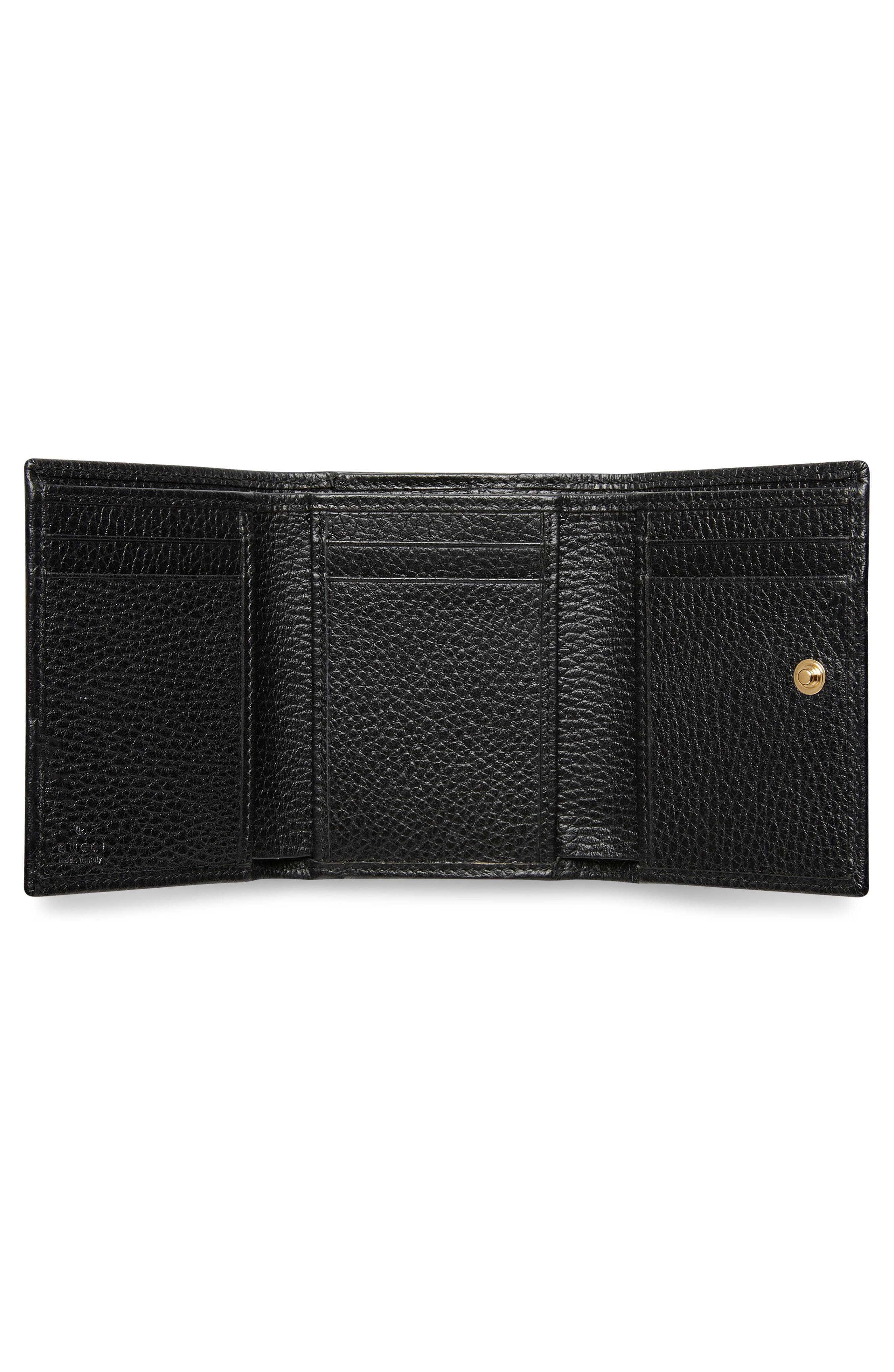 Petite Marmont Leather French Wallet,                             Alternate thumbnail 5, color,                             NERO