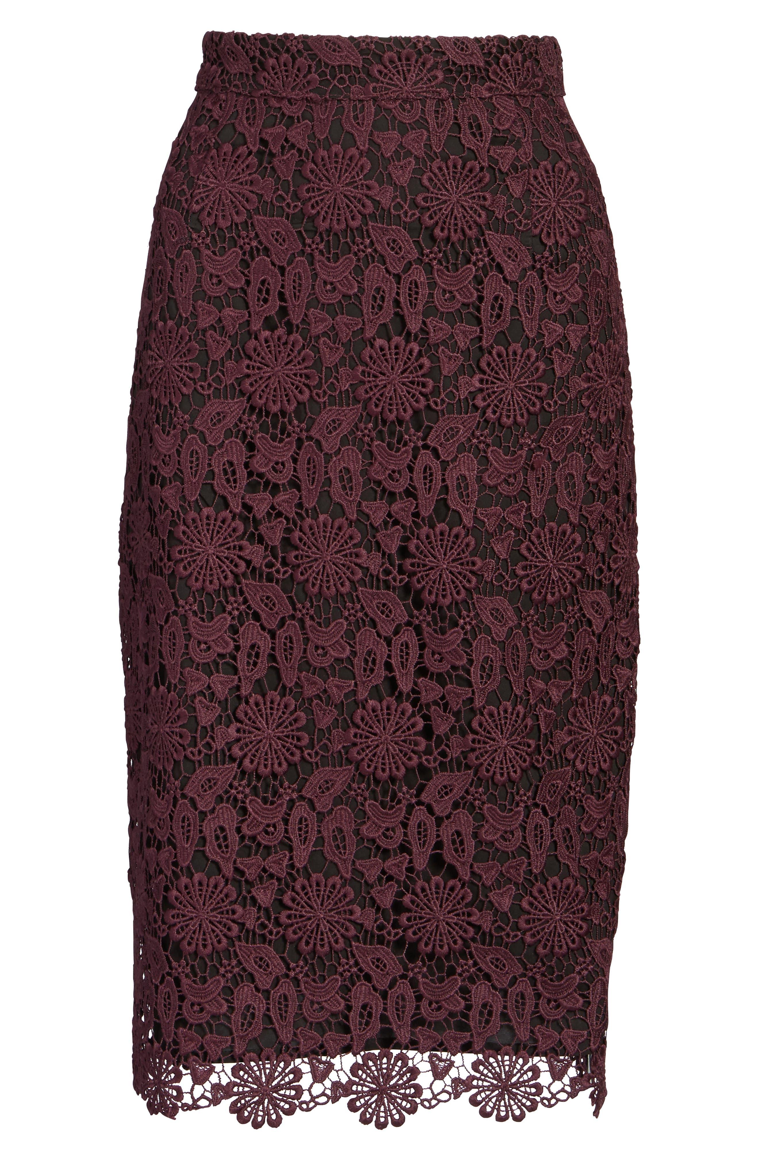 Lace Pencil Skirt,                             Alternate thumbnail 6, color,                             930