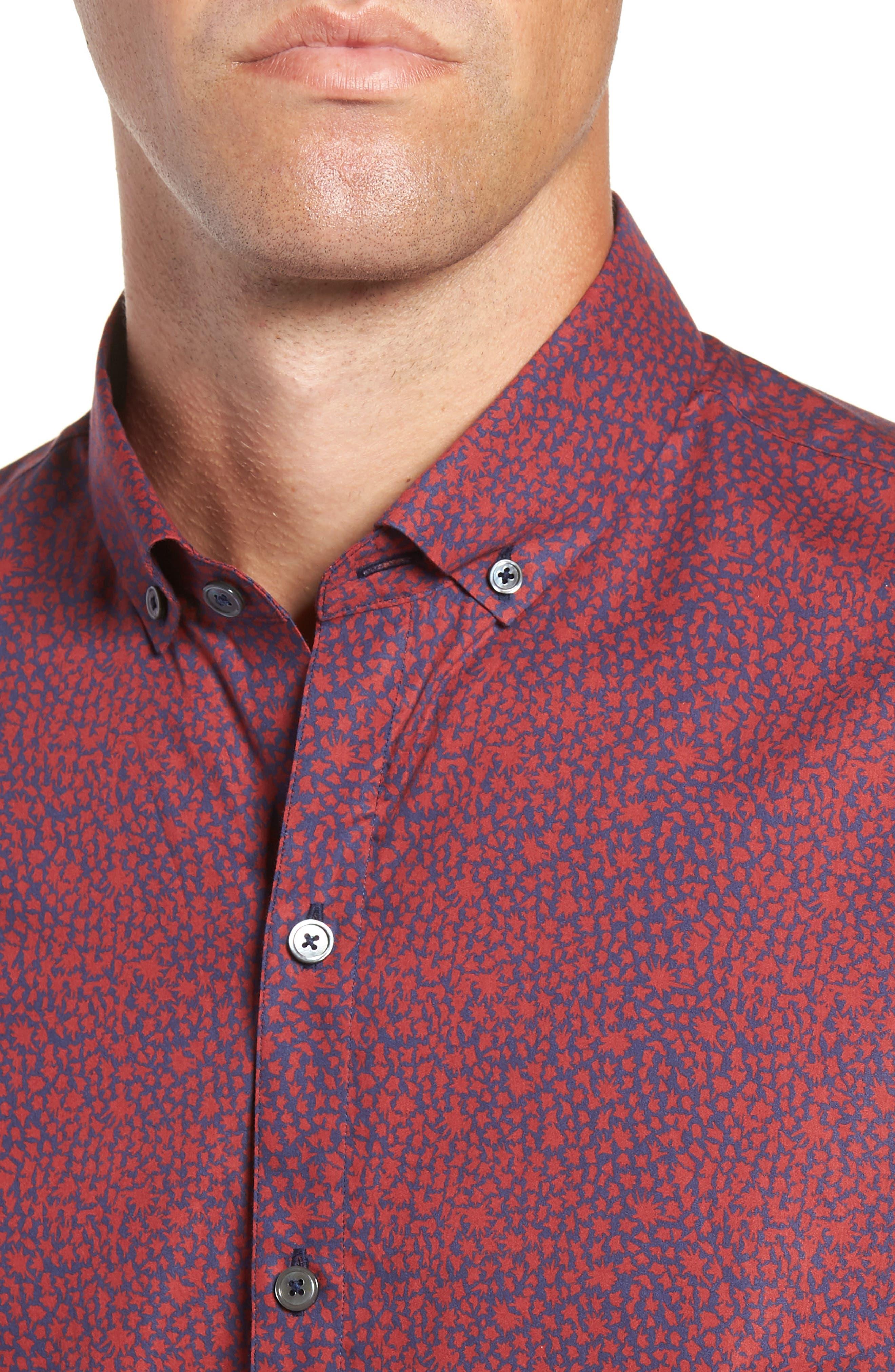 Lyons Regular Fit Print Sport Shirt,                             Alternate thumbnail 2, color,                             RED
