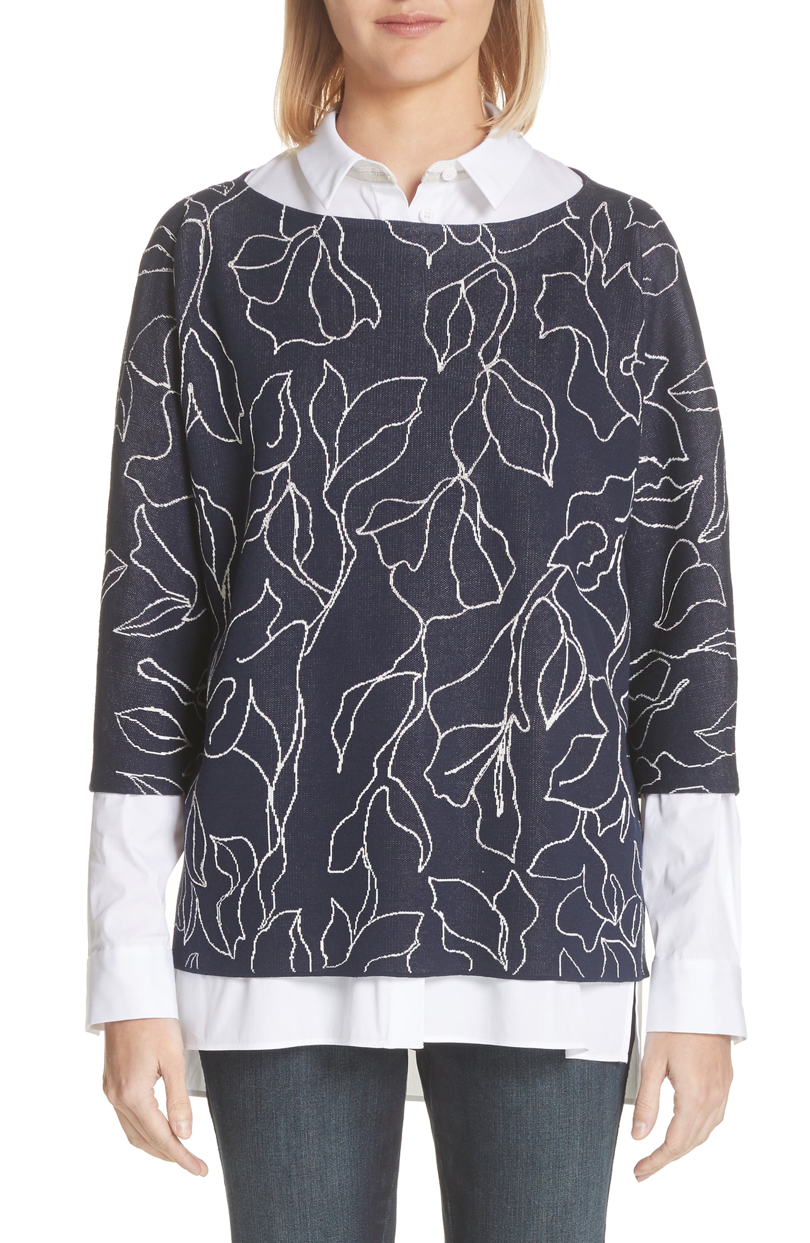 Chain Detail Floral Jacquard Sweater,                         Main,                         color, 426