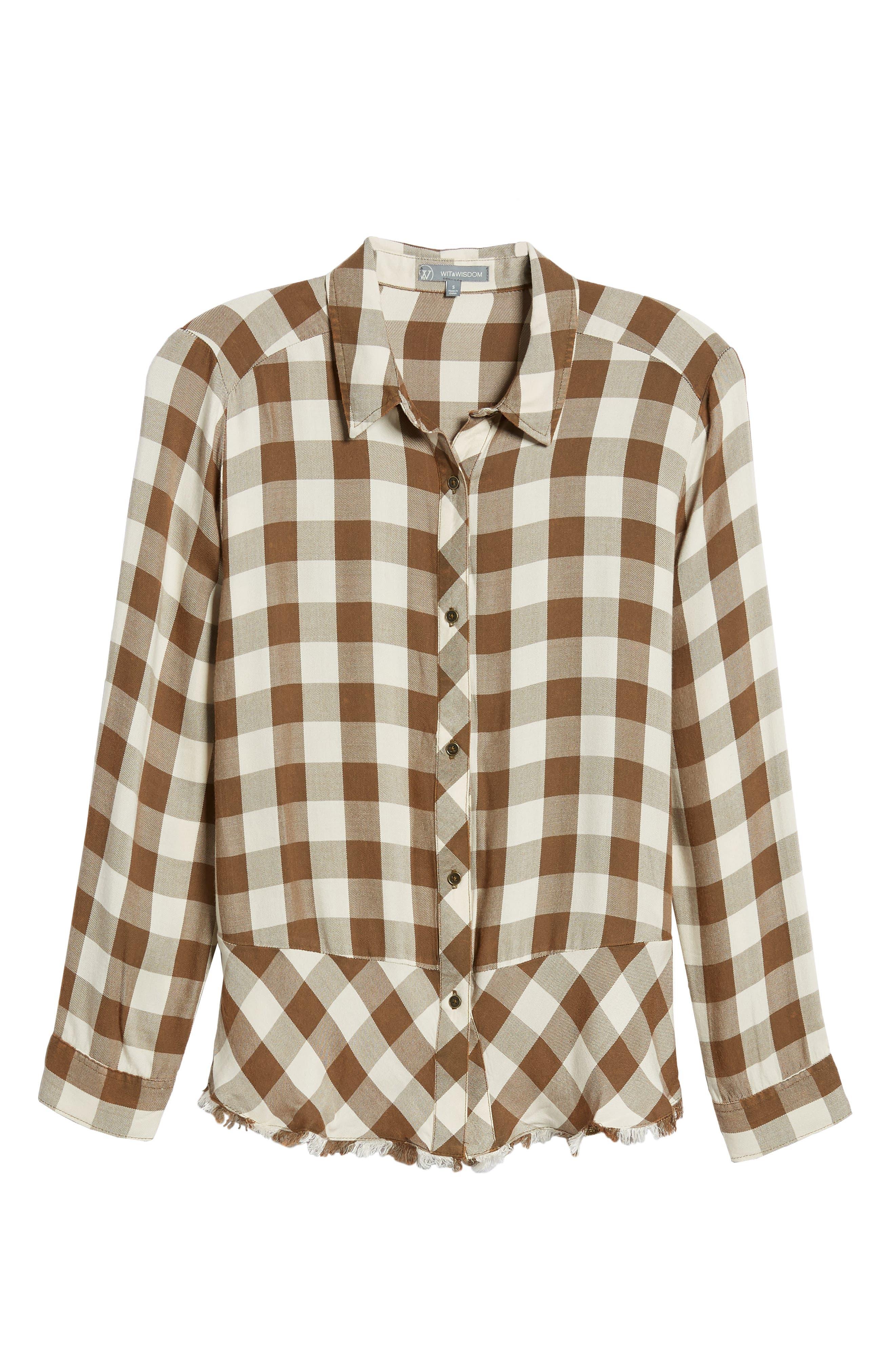 Peplum Plaid Shirt,                             Alternate thumbnail 6, color,                             ASH GREEN