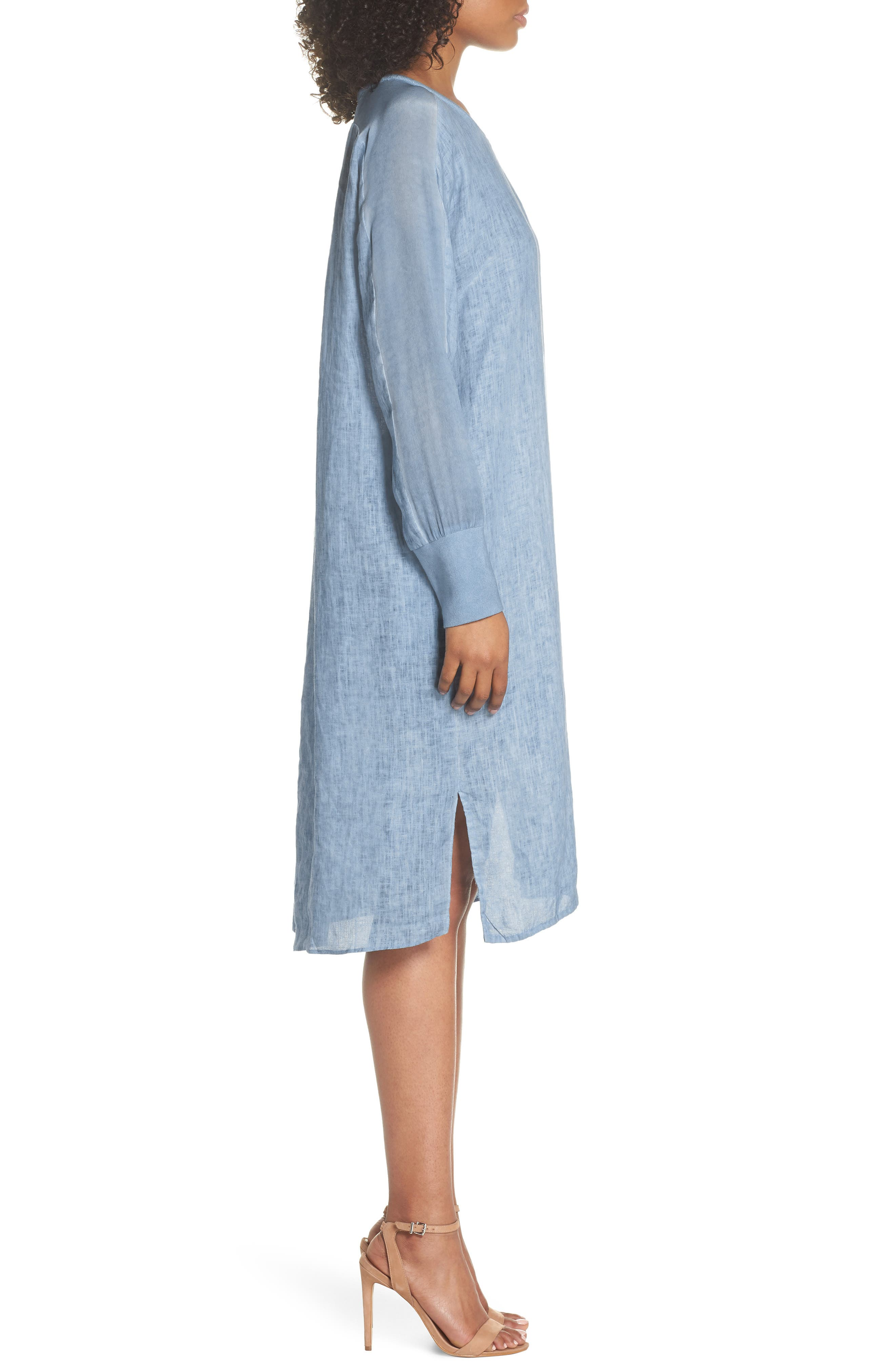 Rata Linen Shift Dress,                             Alternate thumbnail 3, color,                             400