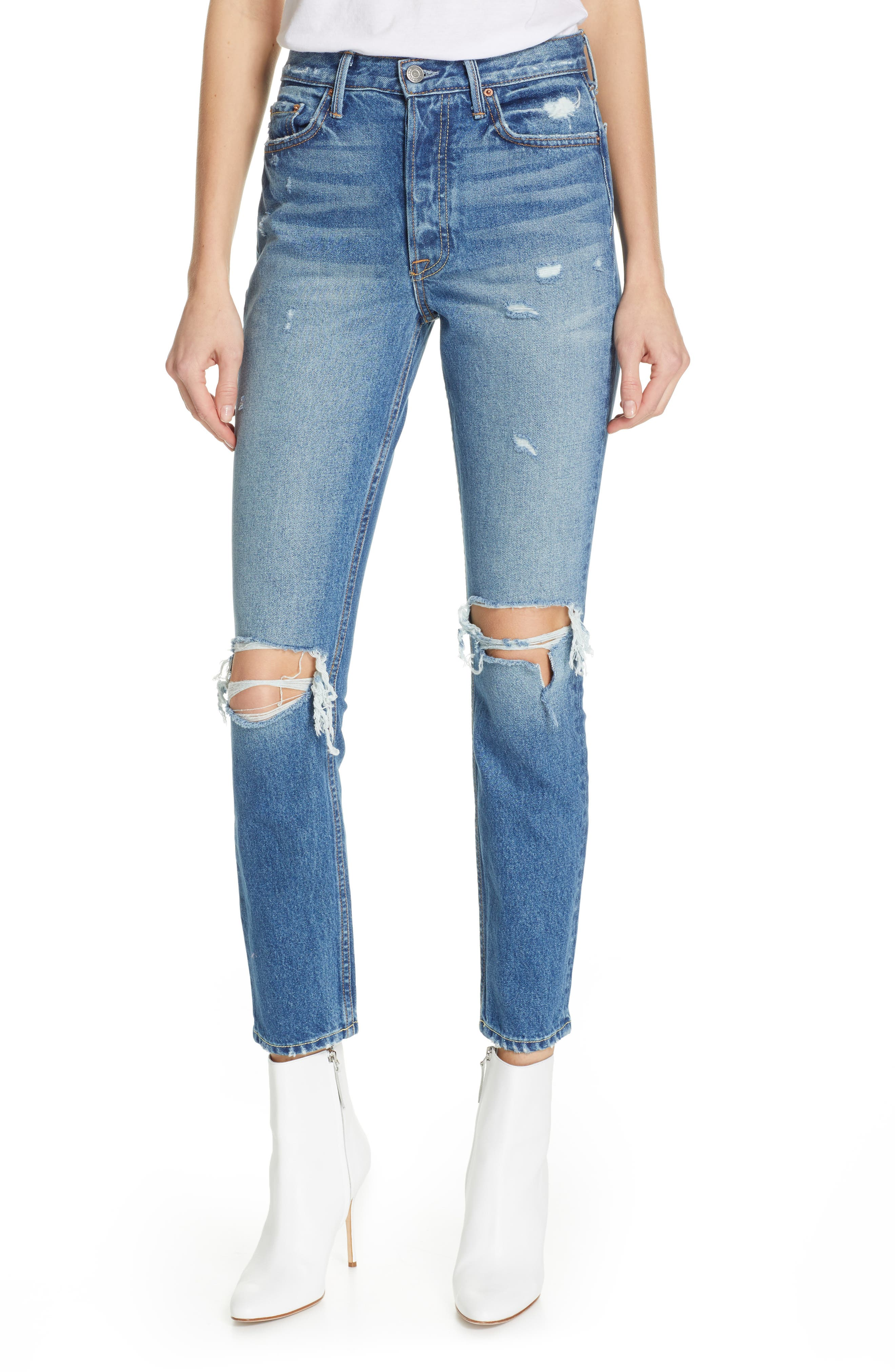 GRLFRND Karolina Ripped High Waist Skinny Jeans, Main, color, I PUT A SPELL ON YOU