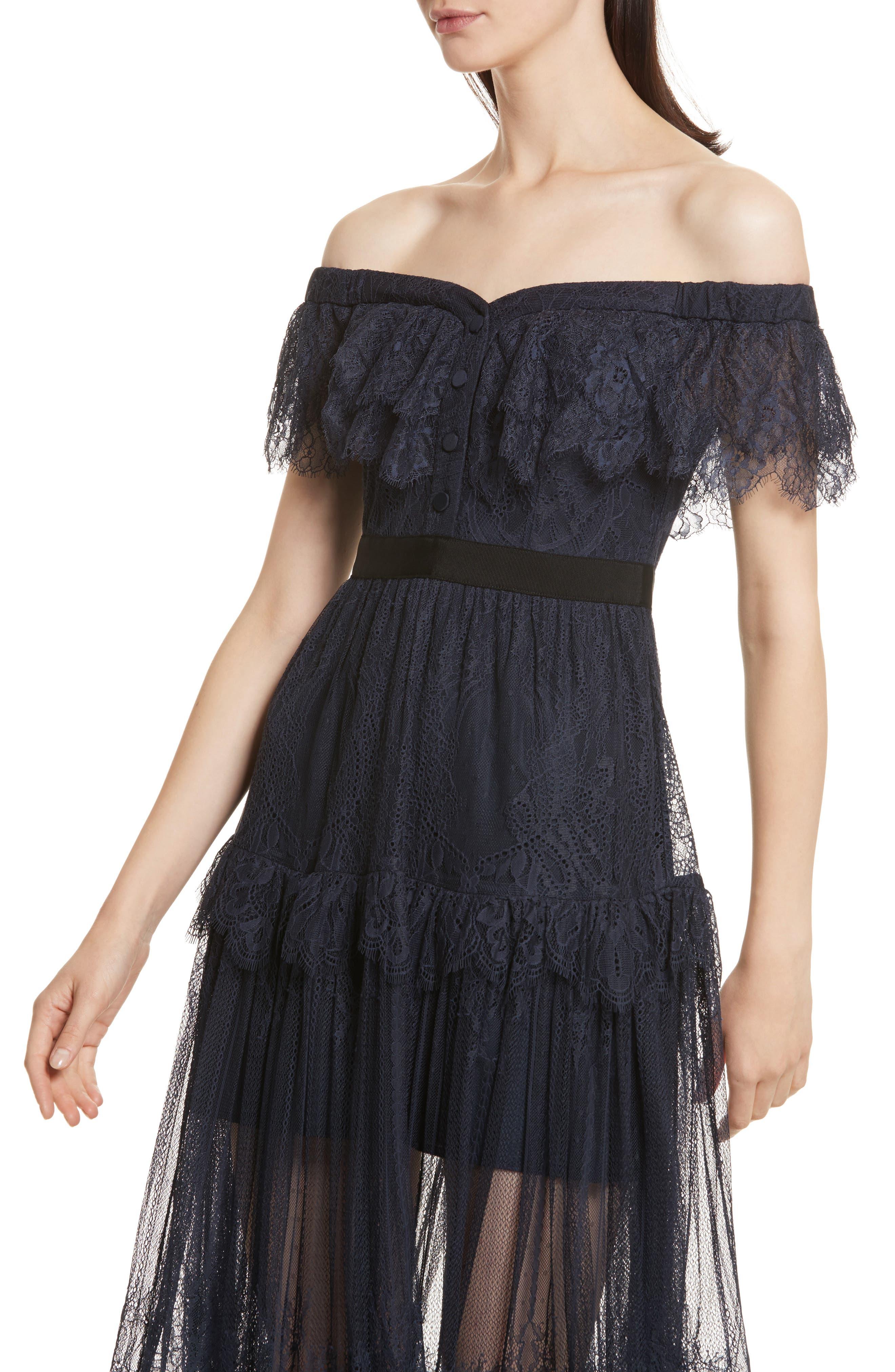 Fine Lace Off the Shoulder Maxi Dress,                             Alternate thumbnail 4, color,                             410