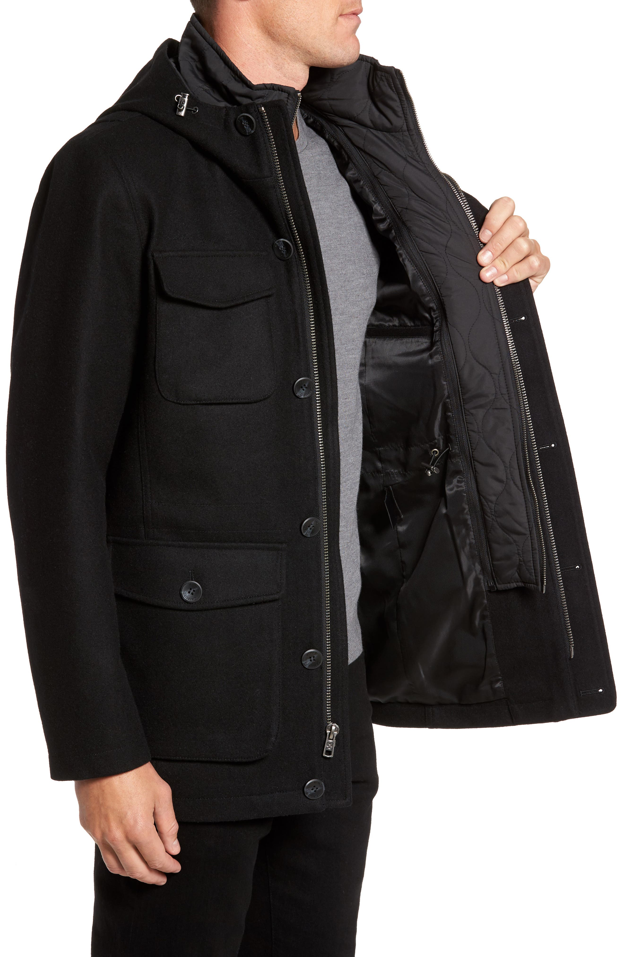 Hooded Jacket with Removable Bib,                             Alternate thumbnail 3, color,                             001