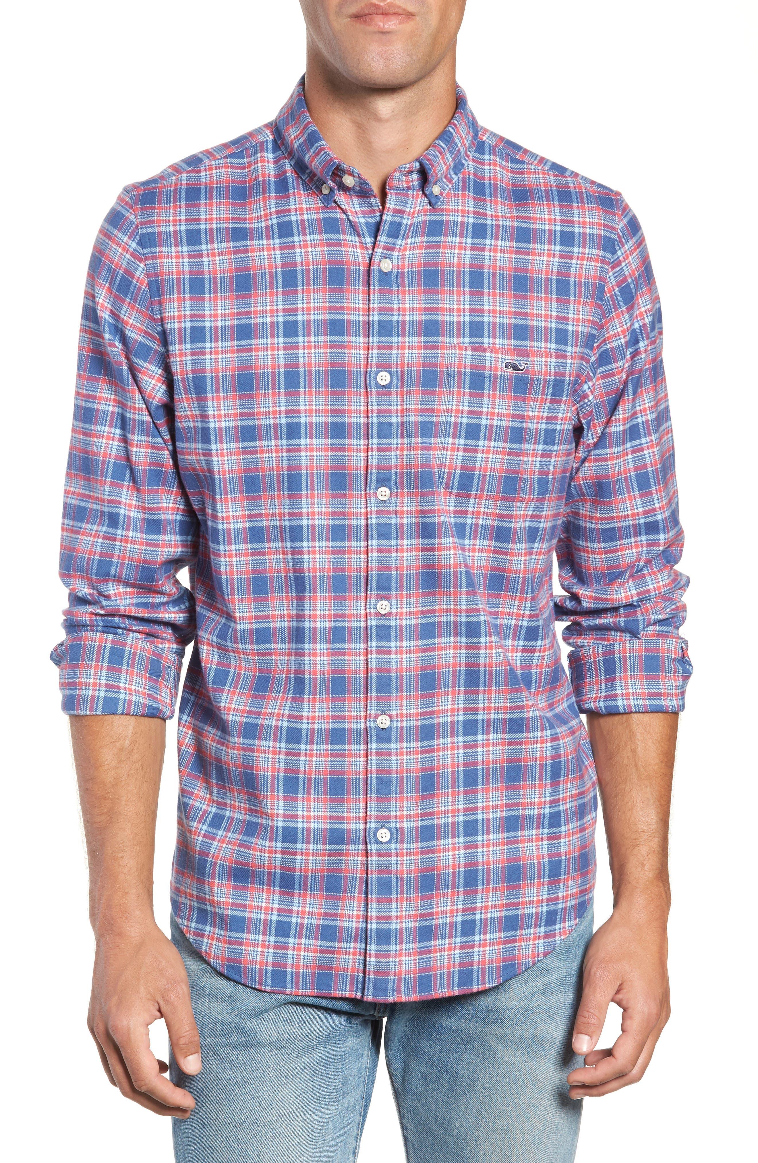 VINEYARD VINES Lockwood Regular Fit Plaid Flannel Shirt in Flag Blue