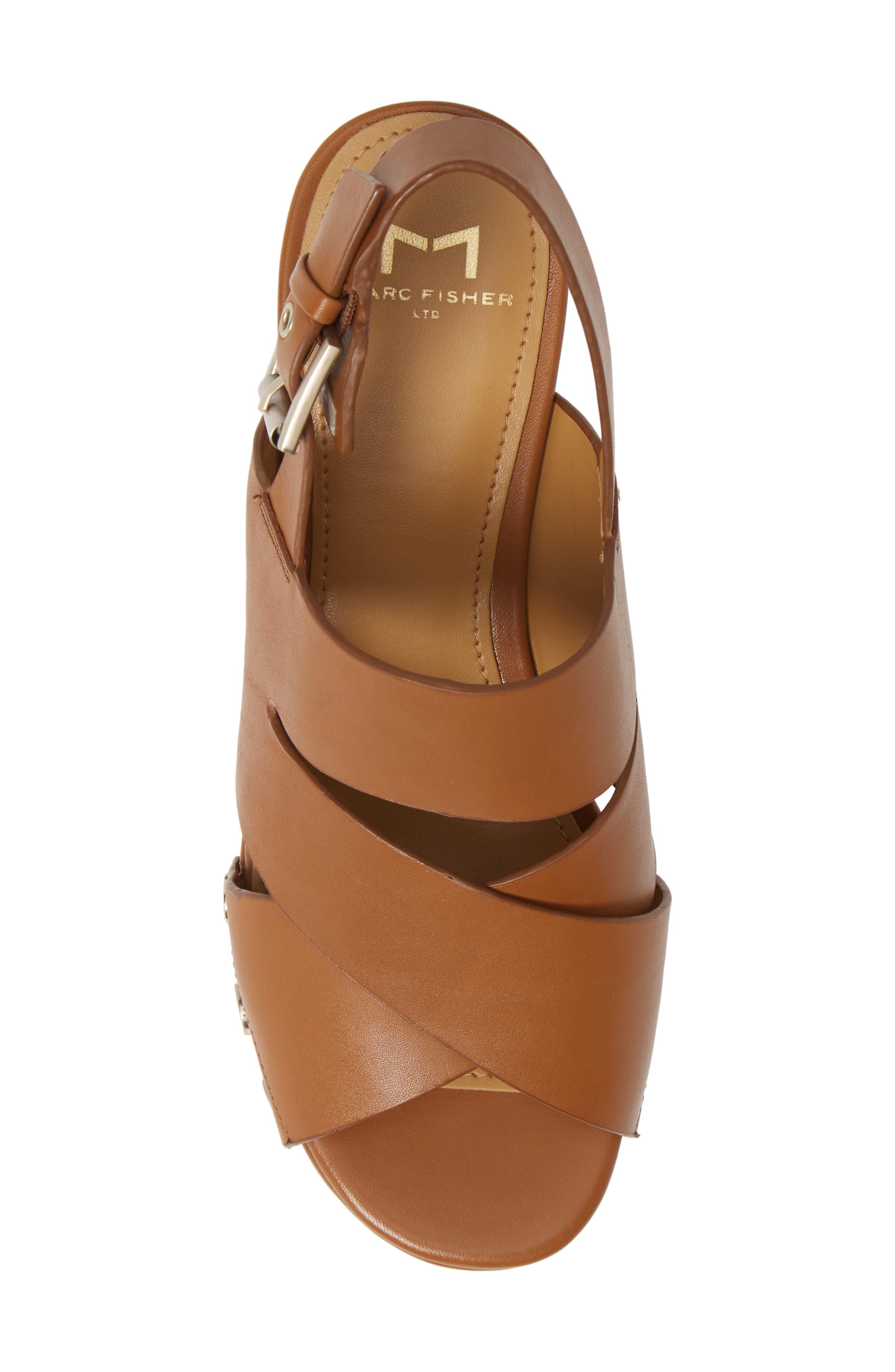 Bianka Platform Wedge Sandal,                             Alternate thumbnail 5, color,                             GINGER SNAP LEATHER