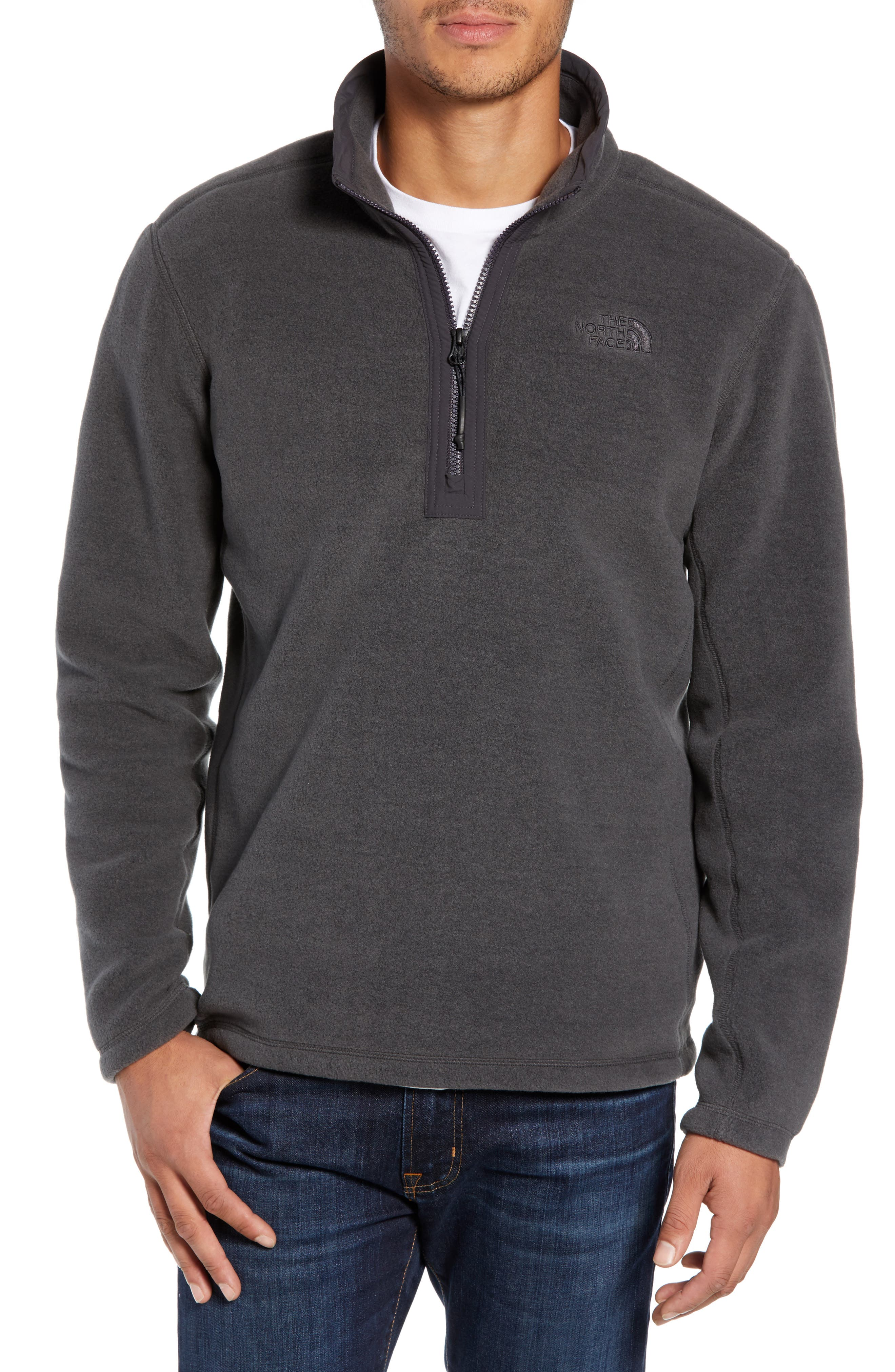 Pyrite Fleece Quarter Zip Pullover,                             Main thumbnail 1, color,                             TNF DARK GREY HEATHER