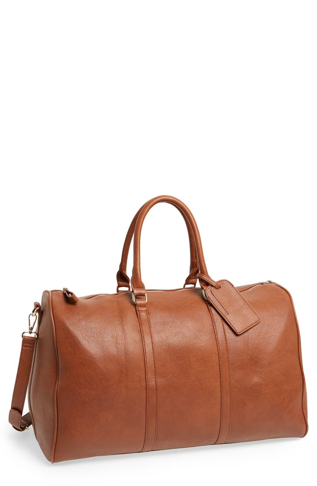 'Lacie' Faux Leather Duffel Bag,                             Main thumbnail 1, color,                             BROWN