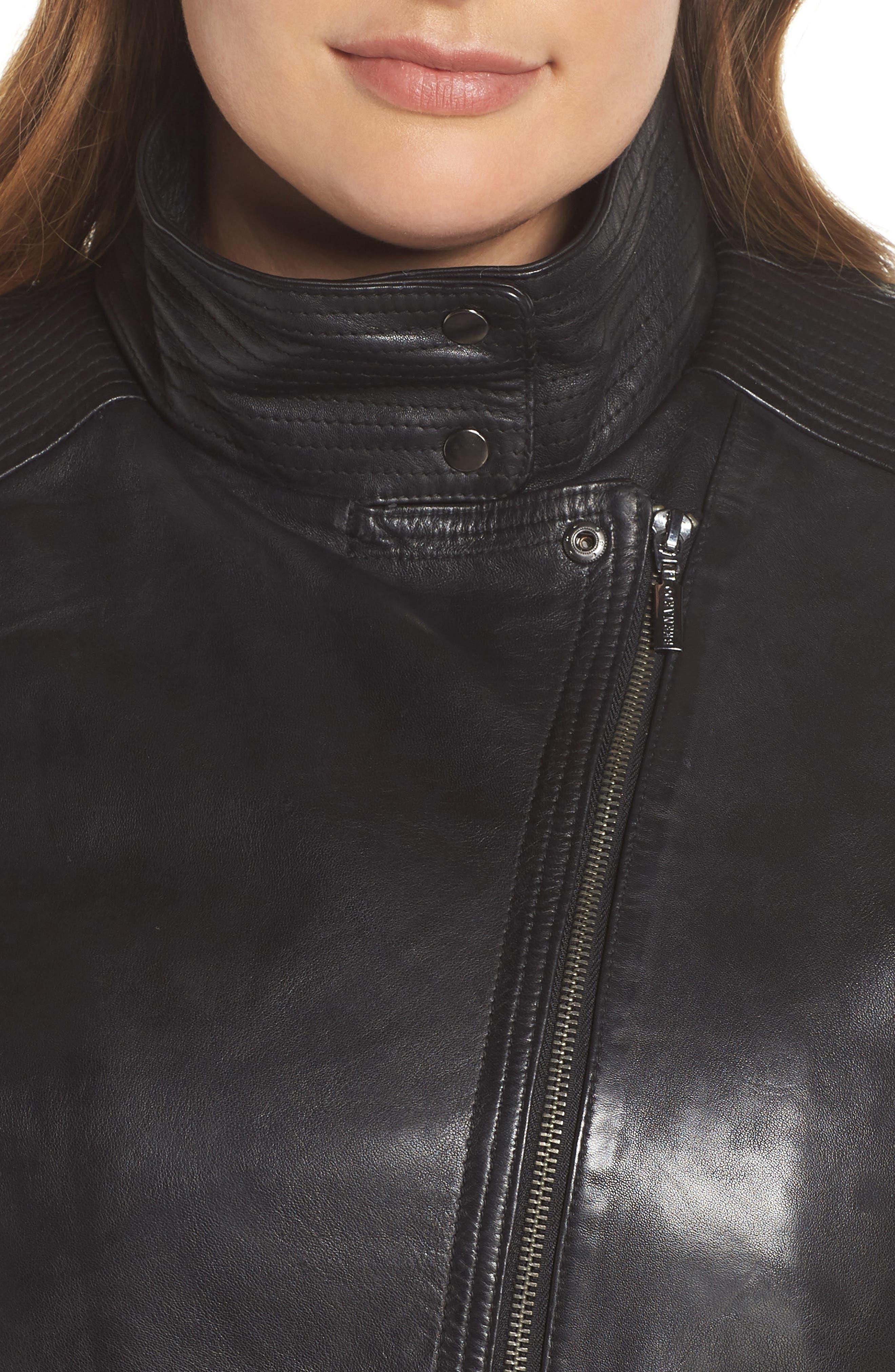 Lambskin Leather Moto Jacket,                             Alternate thumbnail 4, color,                             BLACK