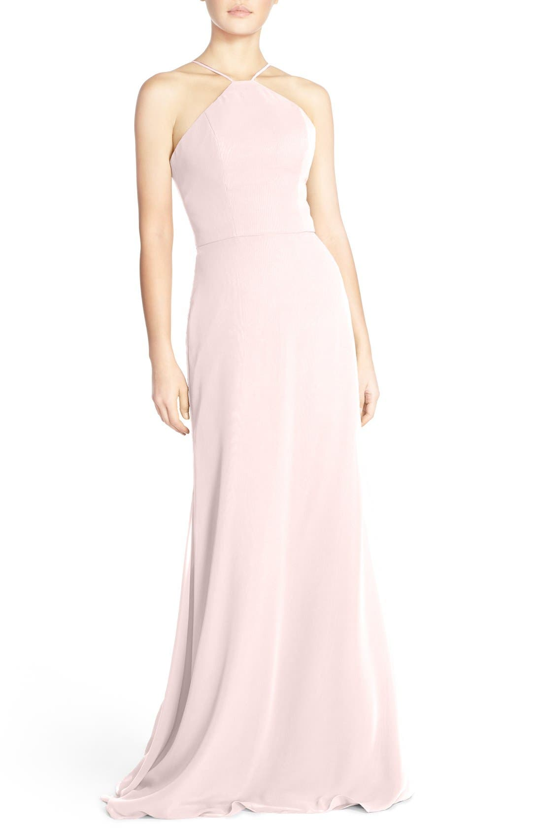 Hayley Paige Occasions Strappy V-Back Chiffon Halter Gown
