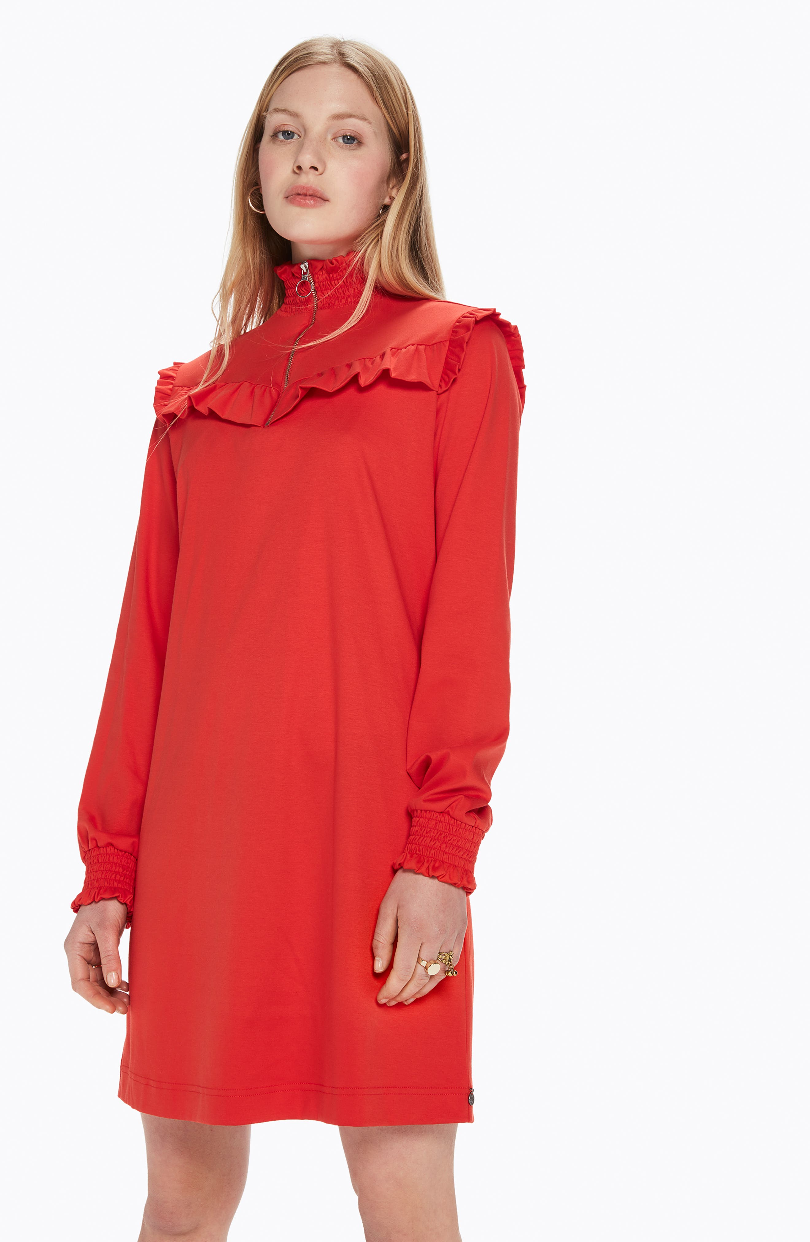Smocked Neck Jersey Dress,                             Alternate thumbnail 6, color,                             POPPY RED