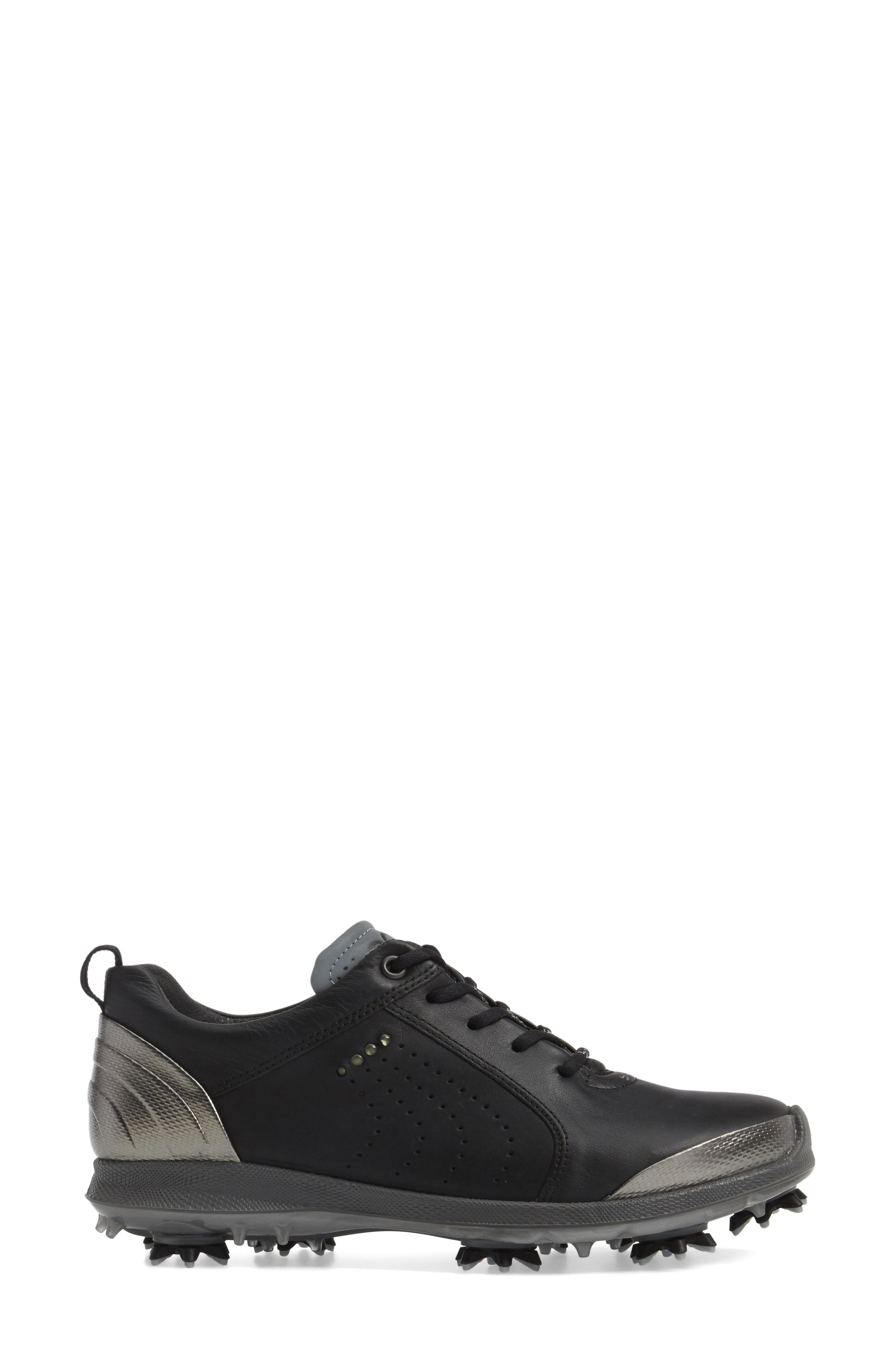 BIOM 2 Waterproof Golf Shoe,                             Alternate thumbnail 3, color,                             BLACK/ BUFFED SILVER LEATHER