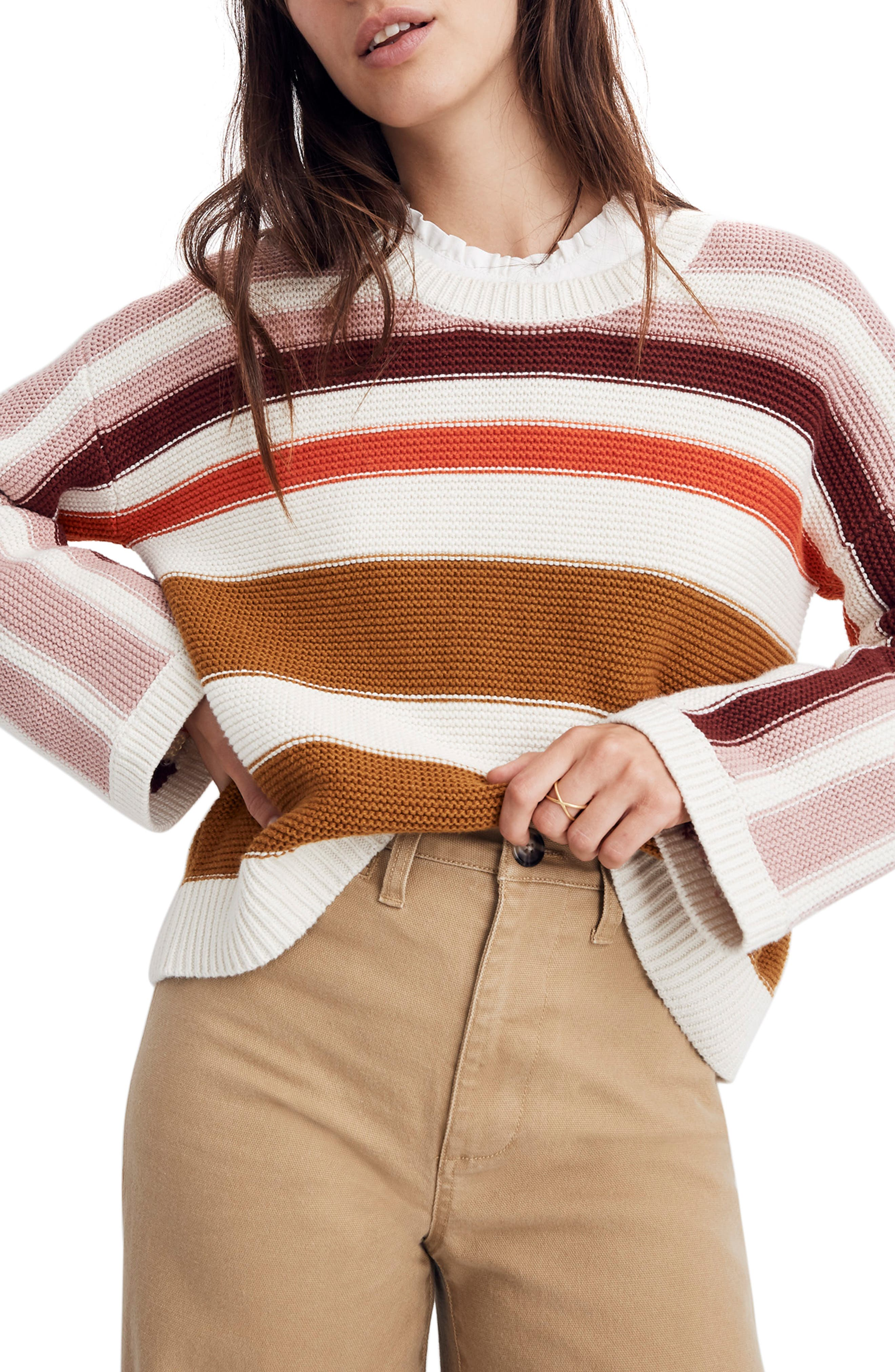 MADEWELL Valleyscape Stripe Pullover Sweater, Main, color, NATURAL