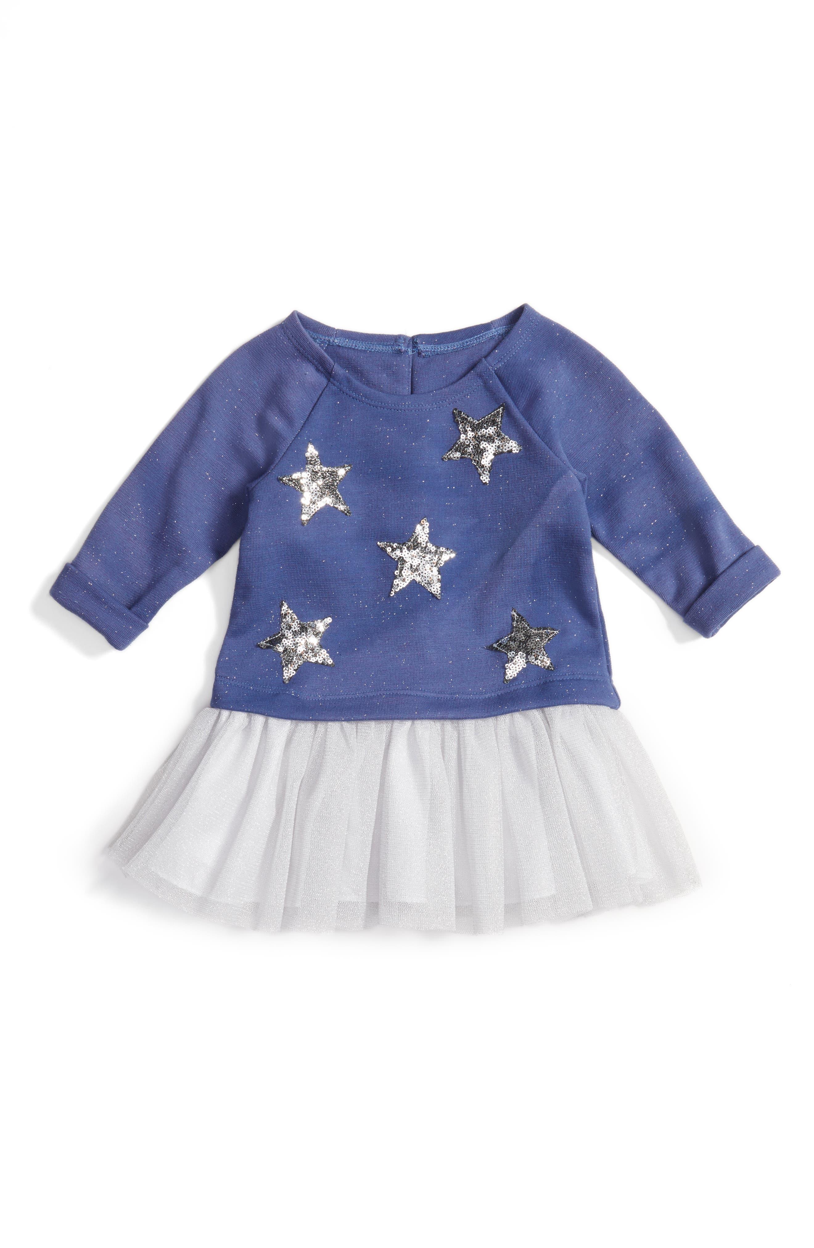 Stars Embellished Dress,                         Main,                         color, 415