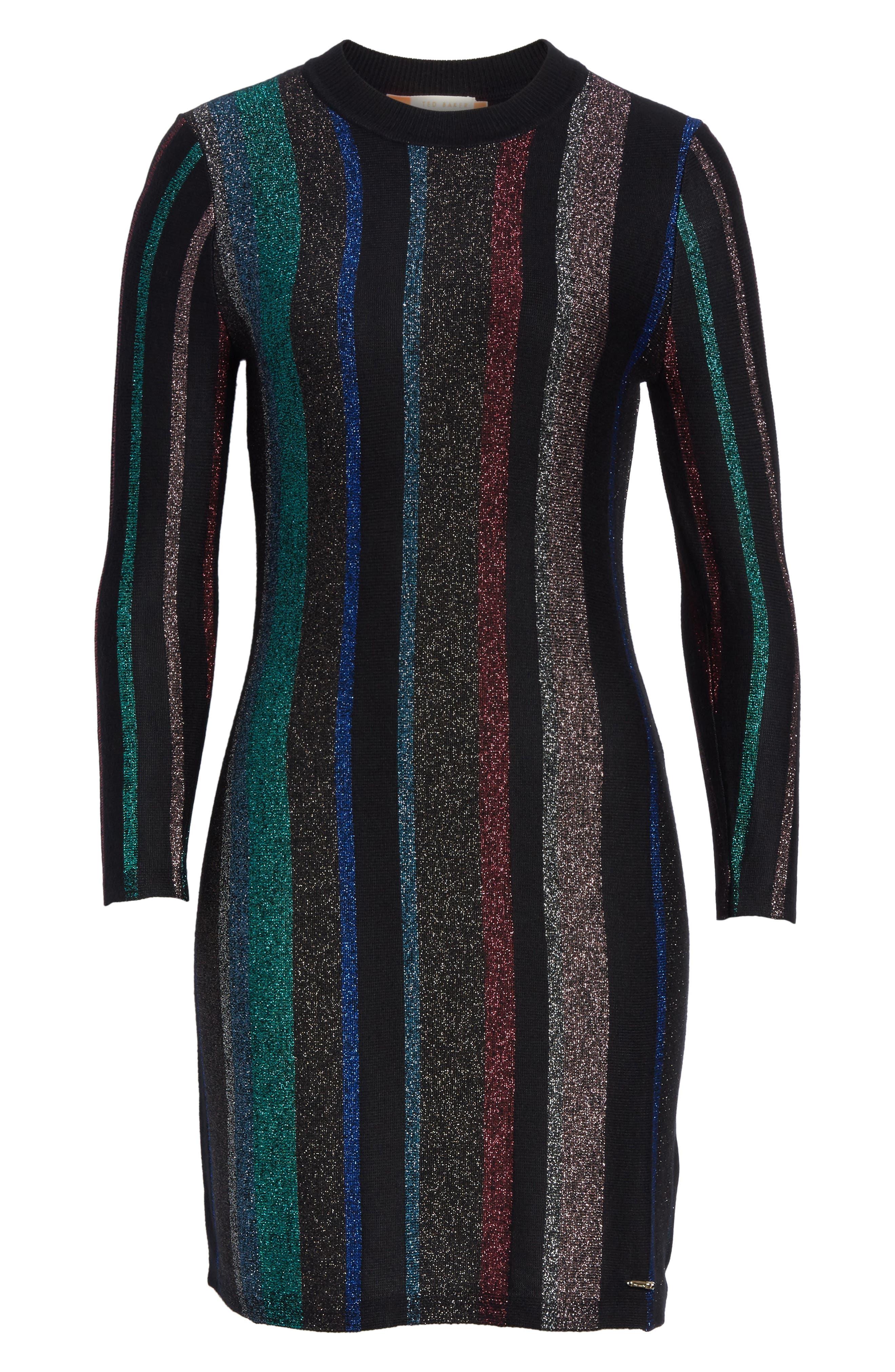 Metallic Stripe Body-Con Dress,                             Alternate thumbnail 6, color,                             001
