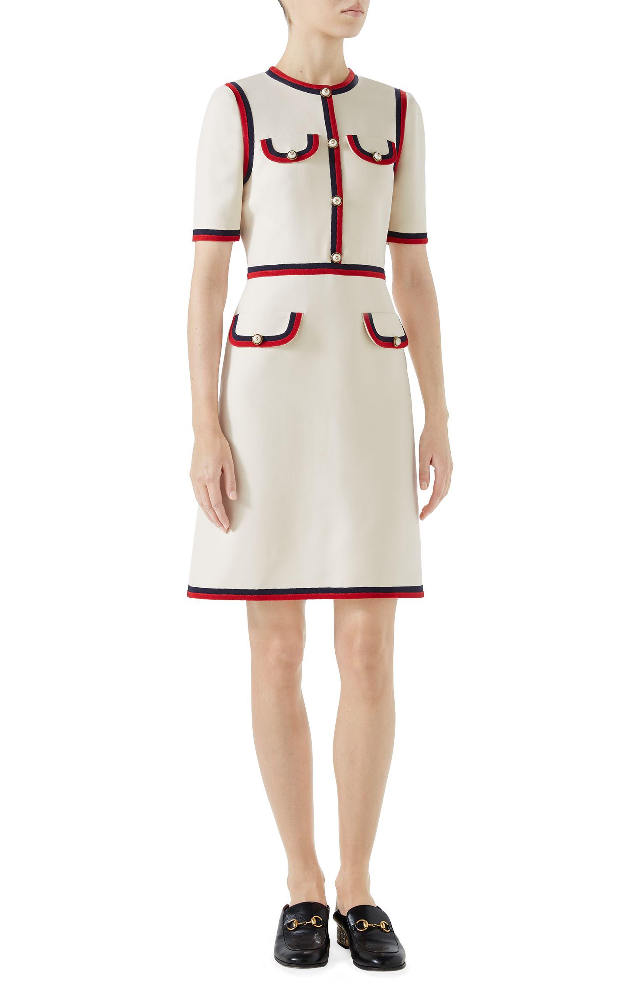Ribbon Trim Wool & Silk Crepe A-Line Dress,                             Main thumbnail 1, color,                             GARDENIA