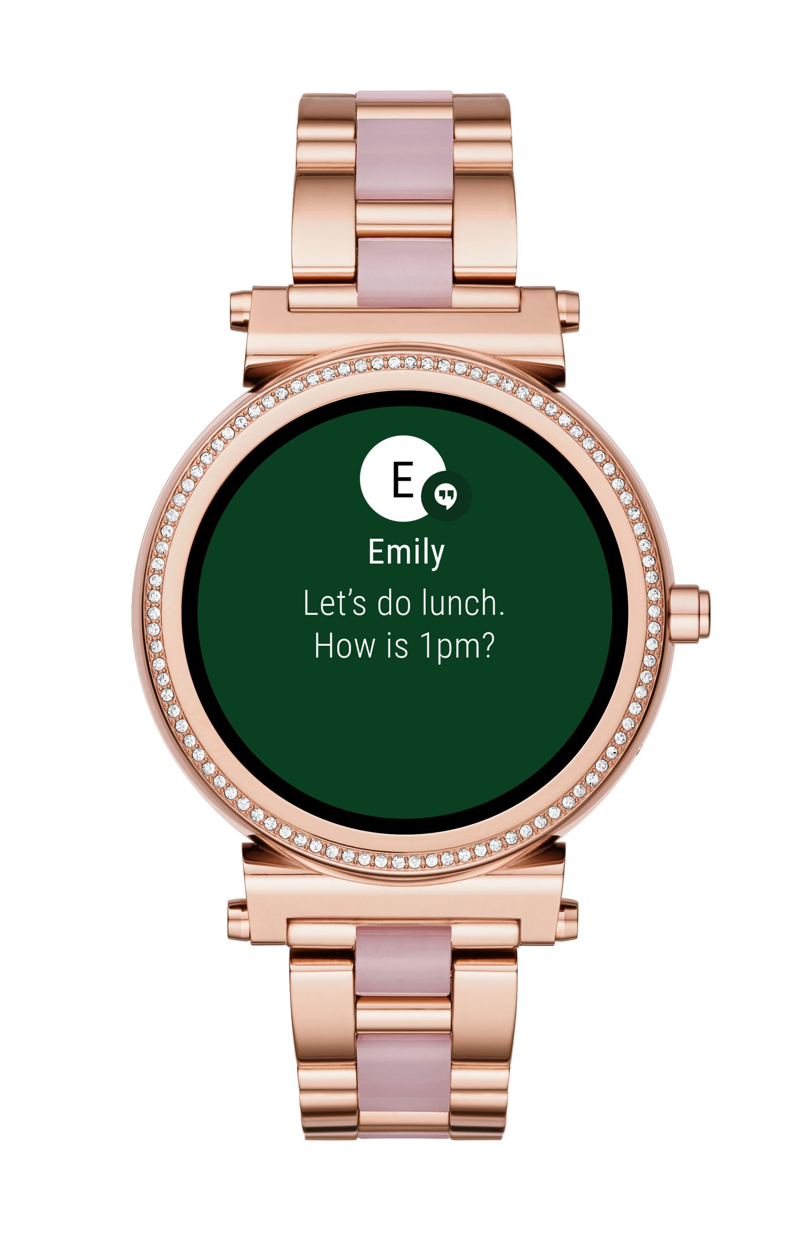 Sofie Touchscreen Bracelet Smart Watch, 42mm,                             Main thumbnail 1, color,                             ROSE GOLD