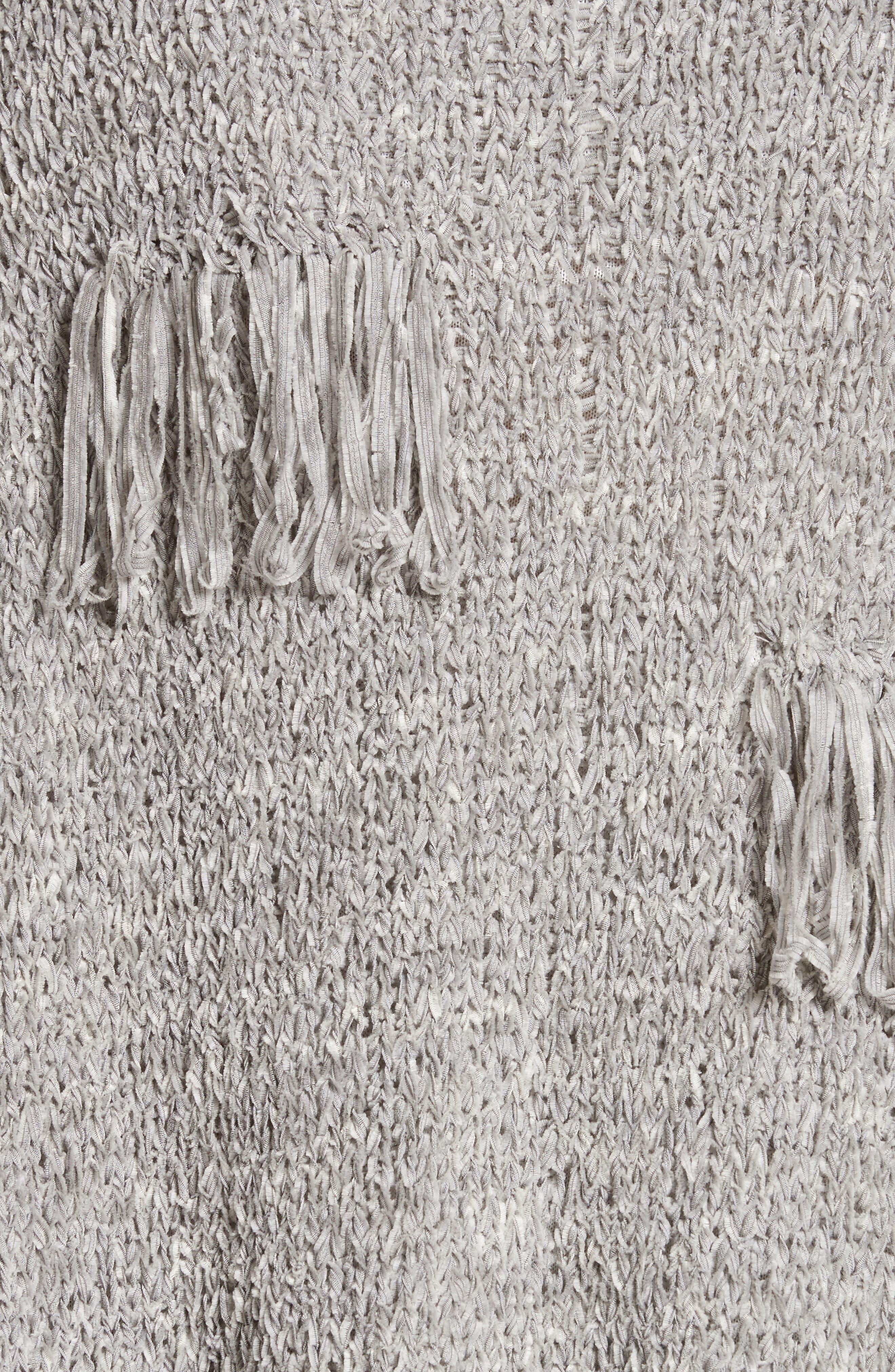 Fringe Chenille Knit Poncho Sweater,                             Alternate thumbnail 5, color,                             020