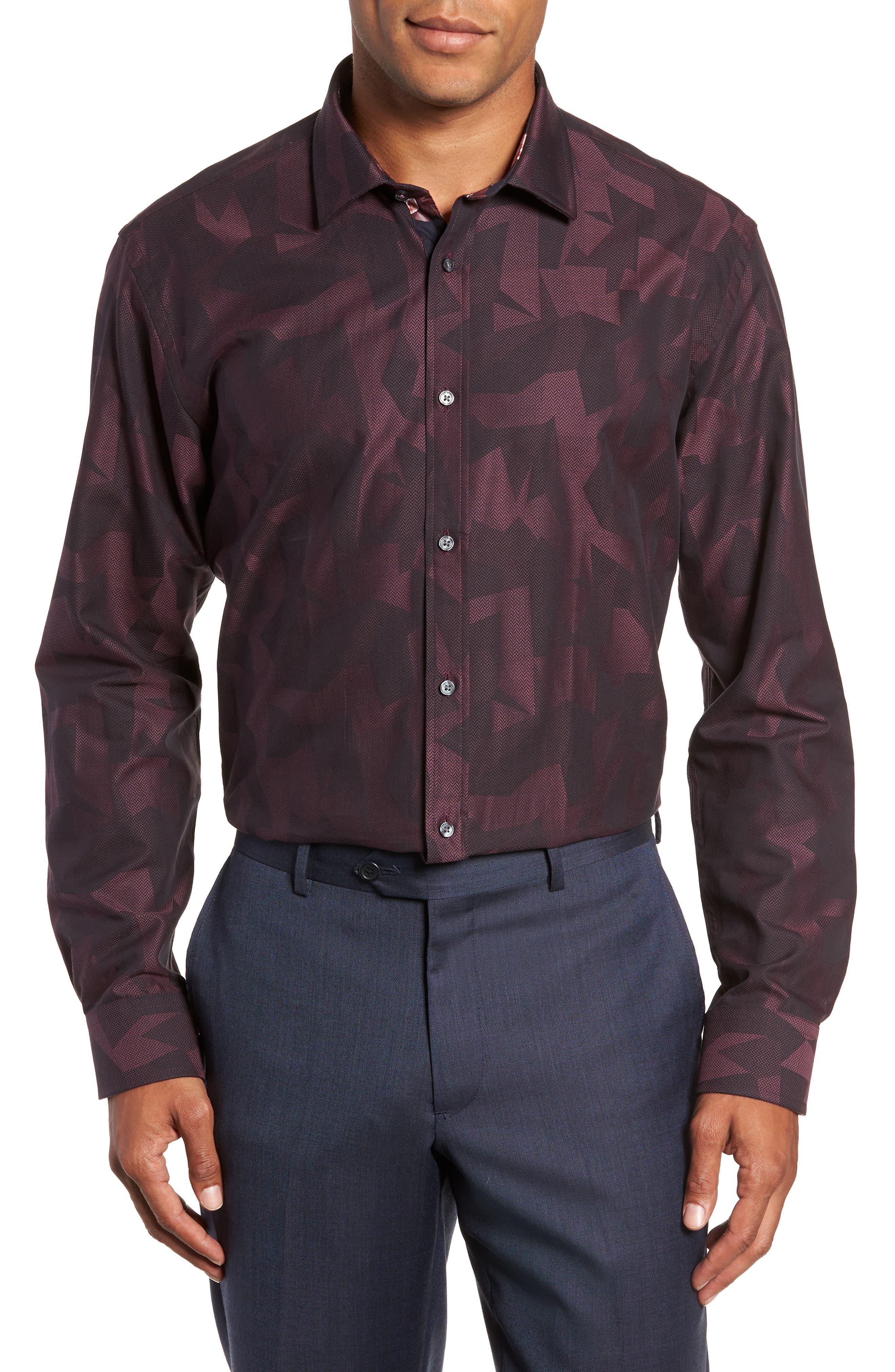 Slissum Slim Fit Print Dress Shirt,                         Main,                         color, DARK RED