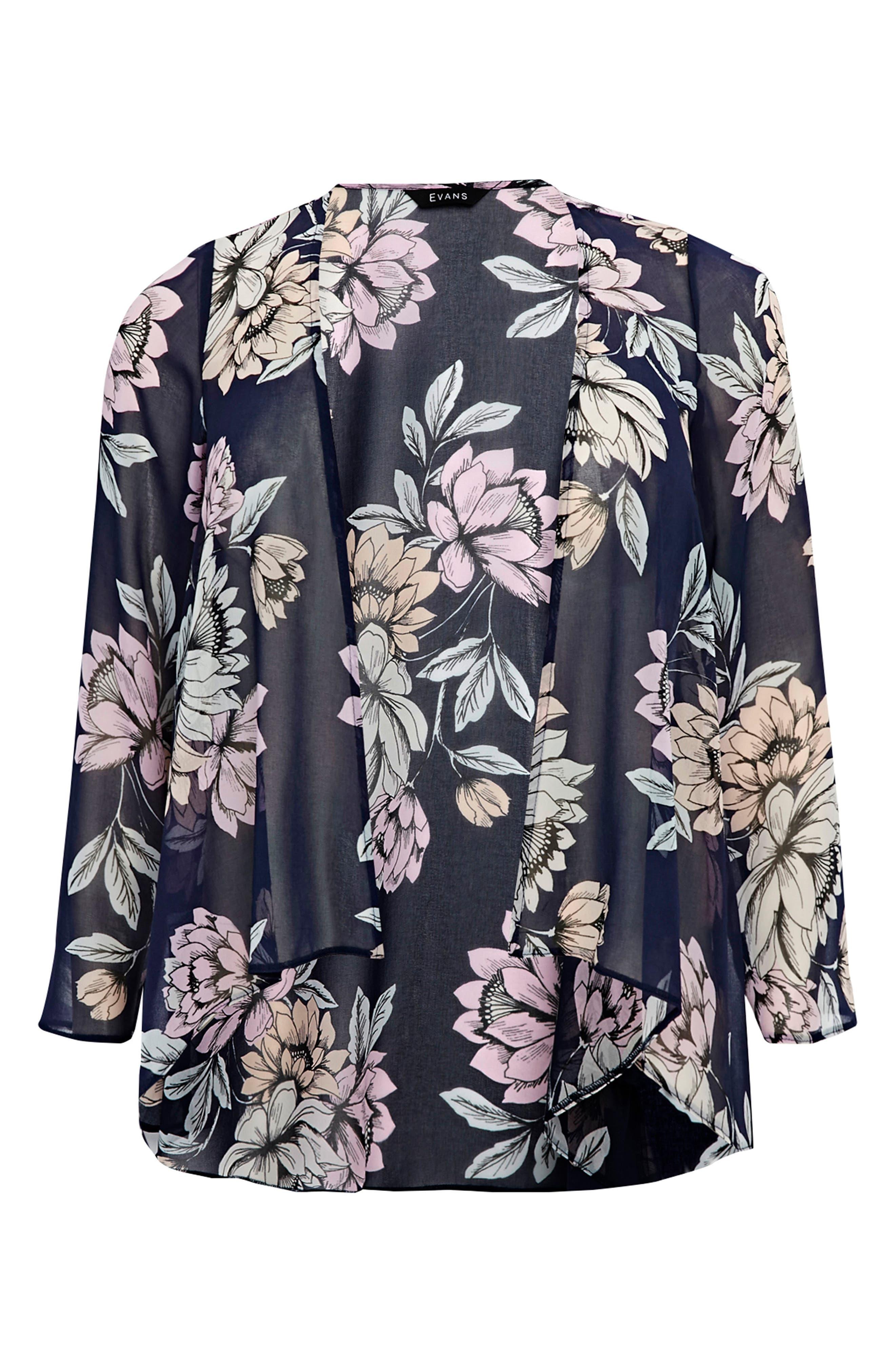 EVANS,                             Floral Kimono Jacket,                             Alternate thumbnail 5, color,                             435