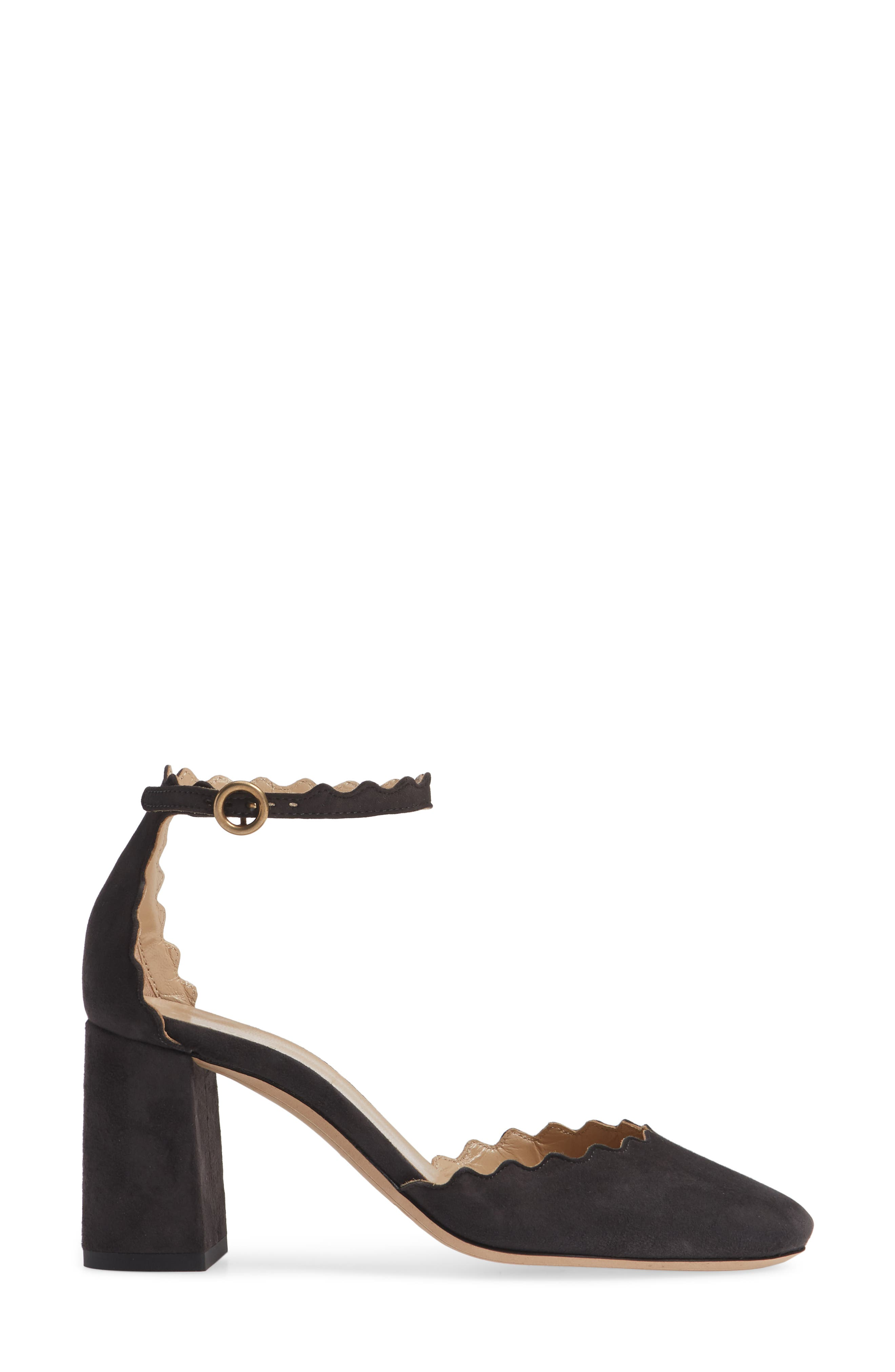 Scalloped Ankle Strap d'Orsay Pump,                             Alternate thumbnail 3, color,                             CHARCOAL BLACK