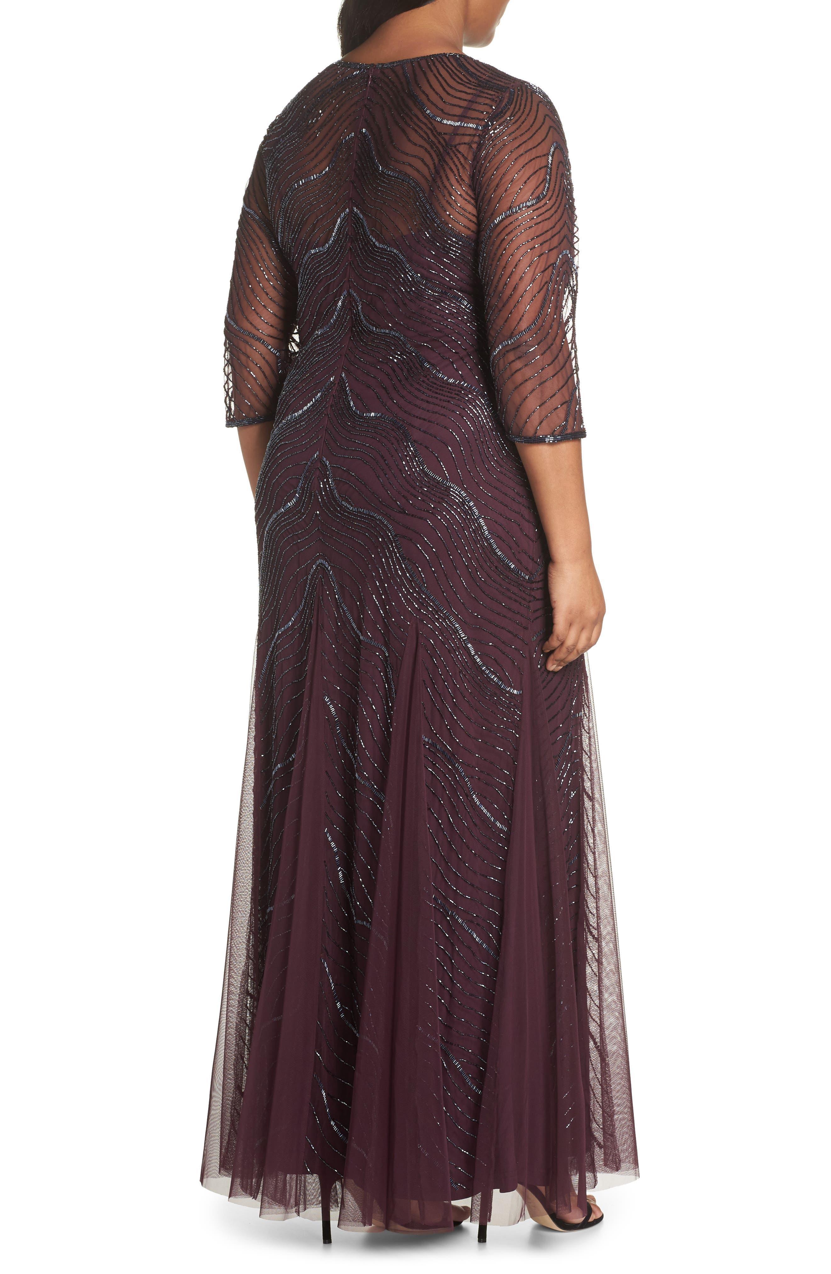 Deco Beaded Godet Gown,                             Alternate thumbnail 2, color,                             500