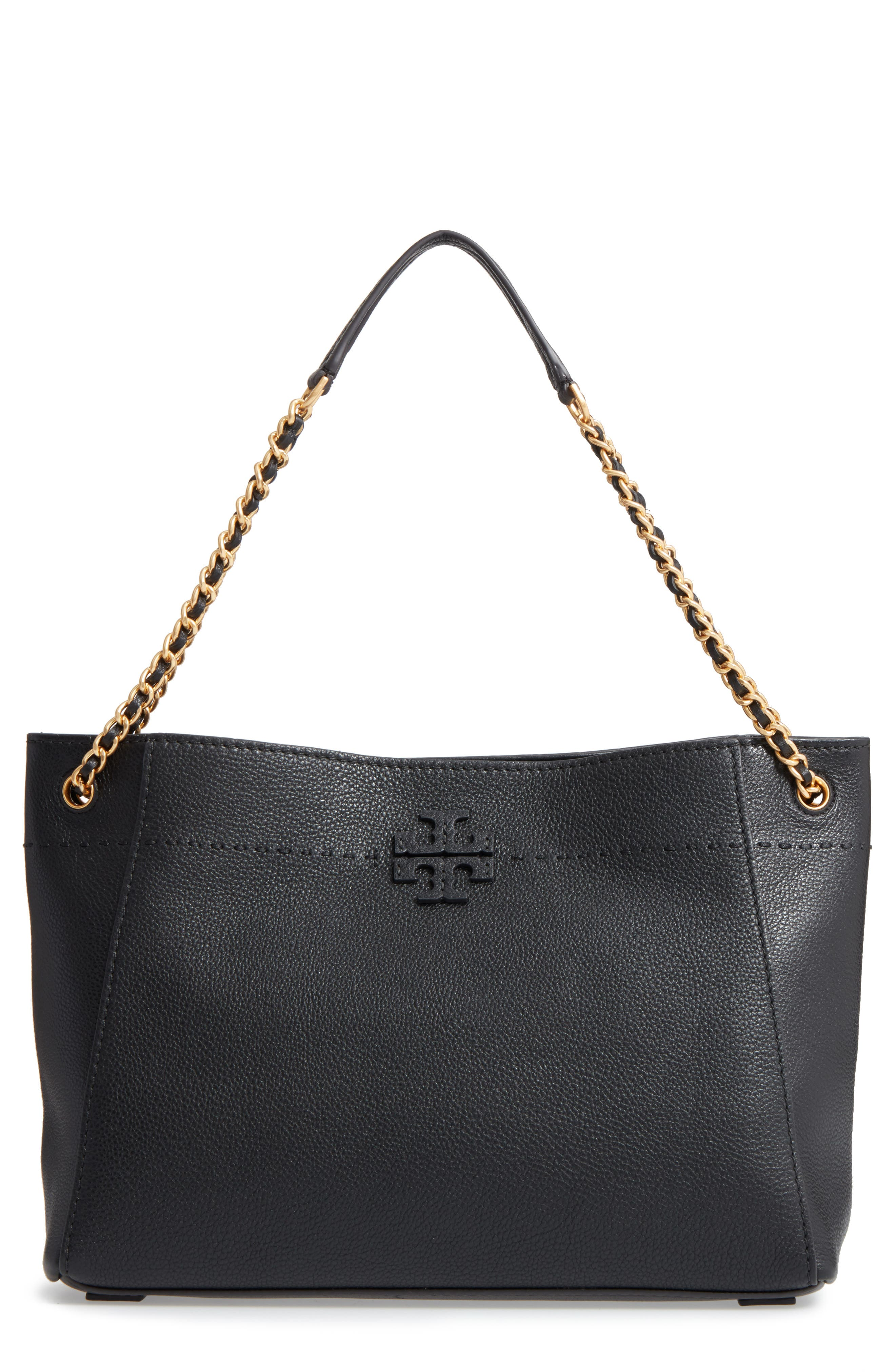 TORY BURCH,                             McGraw Slouchy Leather Shoulder Bag,                             Main thumbnail 1, color,                             001