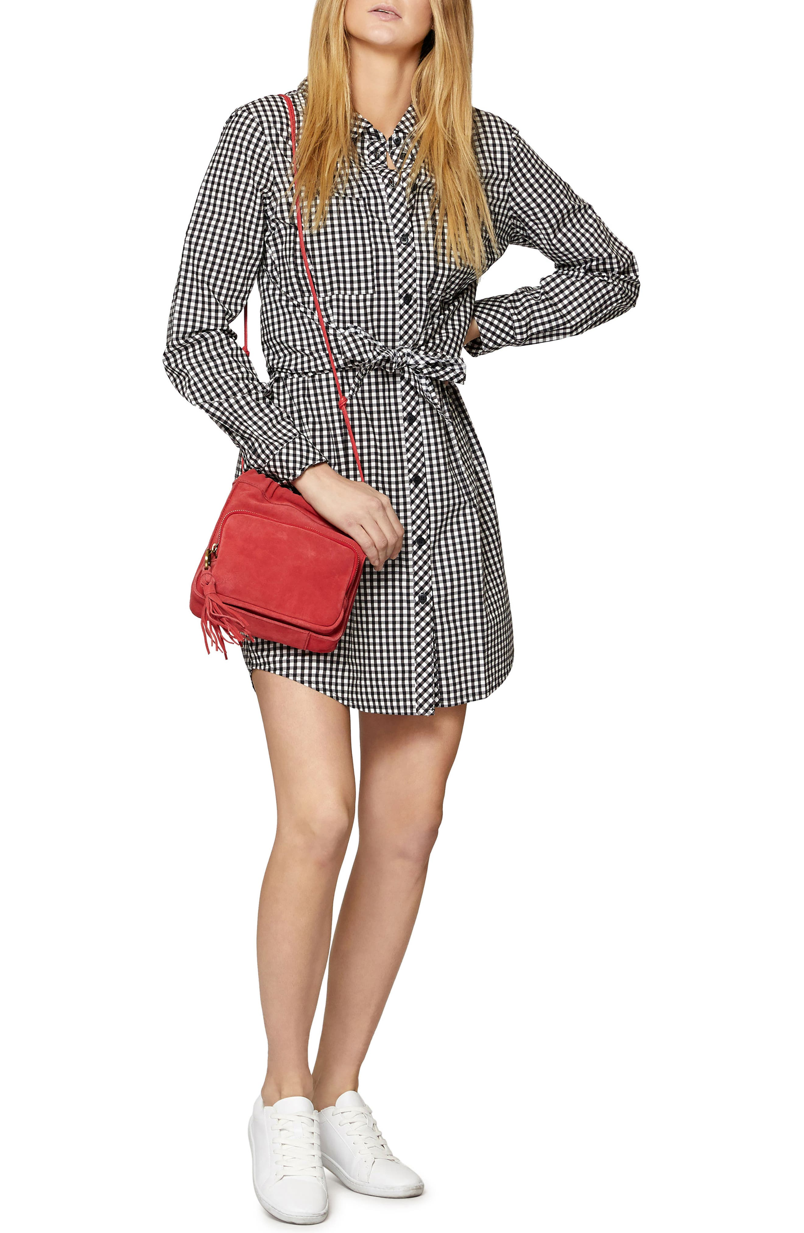 Tie Front Gingham Shirtdress,                             Alternate thumbnail 8, color,                             011