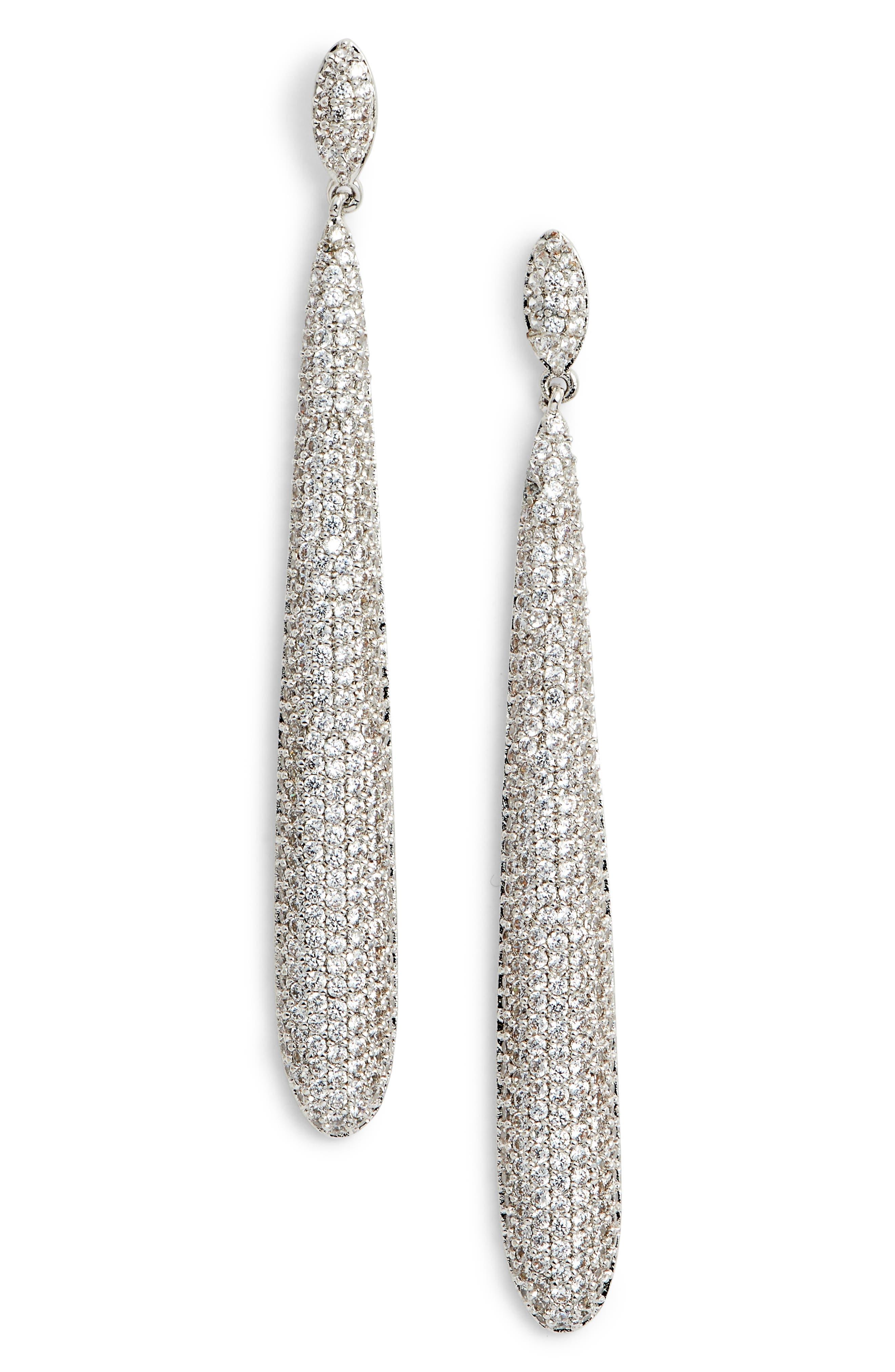 NINA Skinny Teardrop Pavé Earrings, Main, color, WHITE/ SILVER