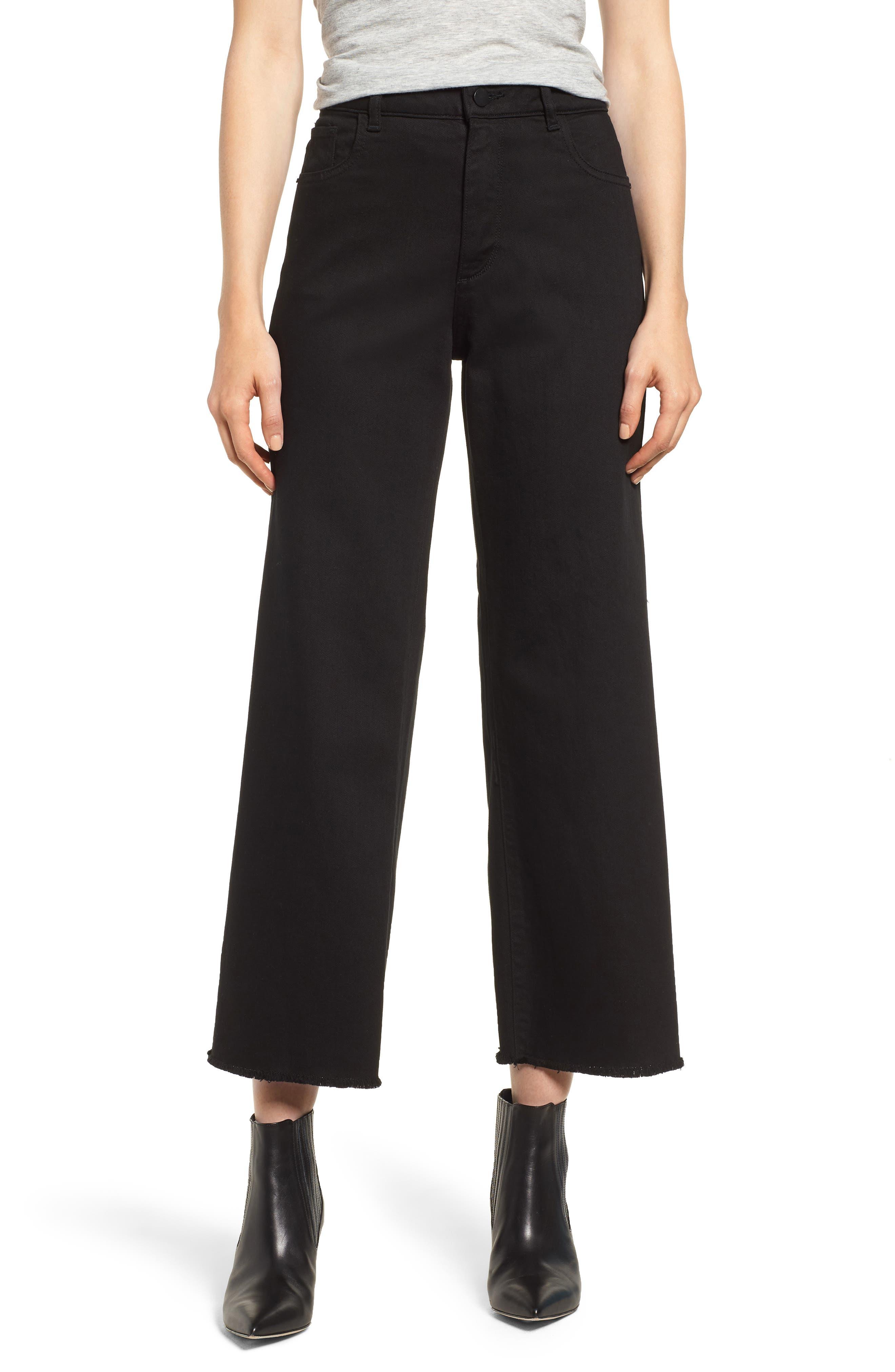 Hepburn High Waist Raw Hem Wide Leg Jeans, Main, color, 001