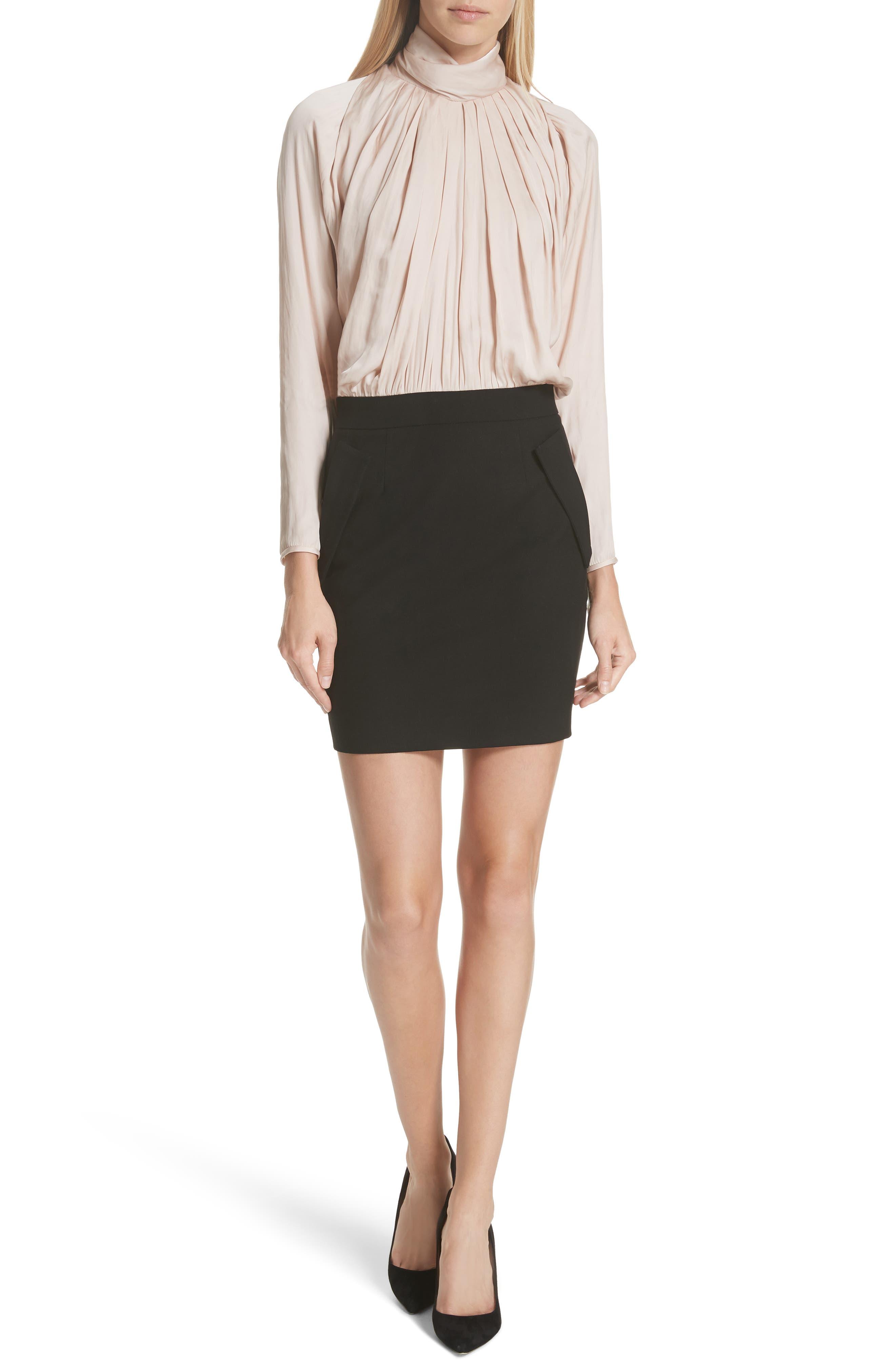 Draped Turtleneck Minidress,                         Main,                         color, BLUSH/ BLACK