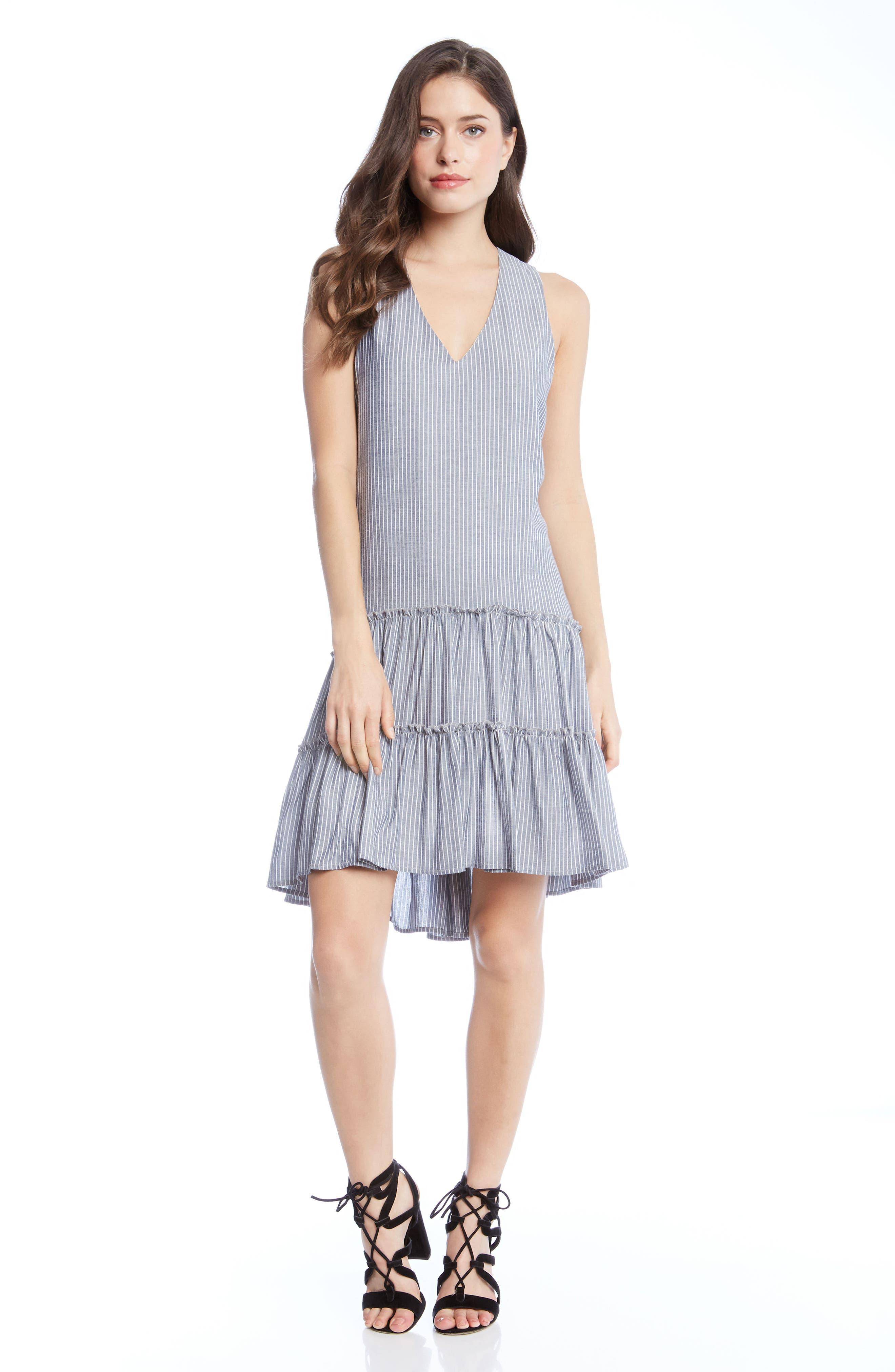Ruffle Hem Dress,                             Alternate thumbnail 4, color,                             001