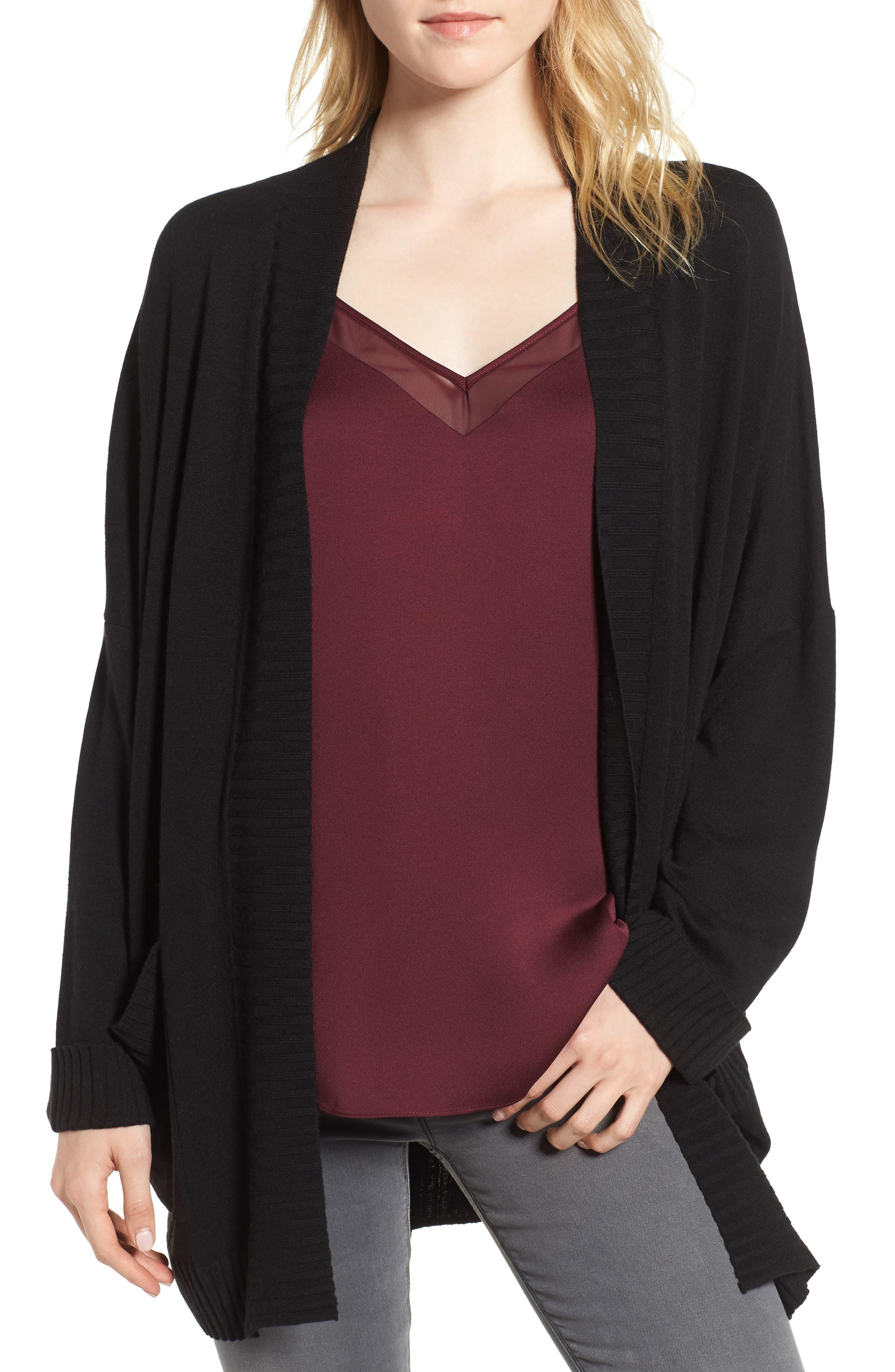 Oversize Open Cardigan,                         Main,                         color, BLACK