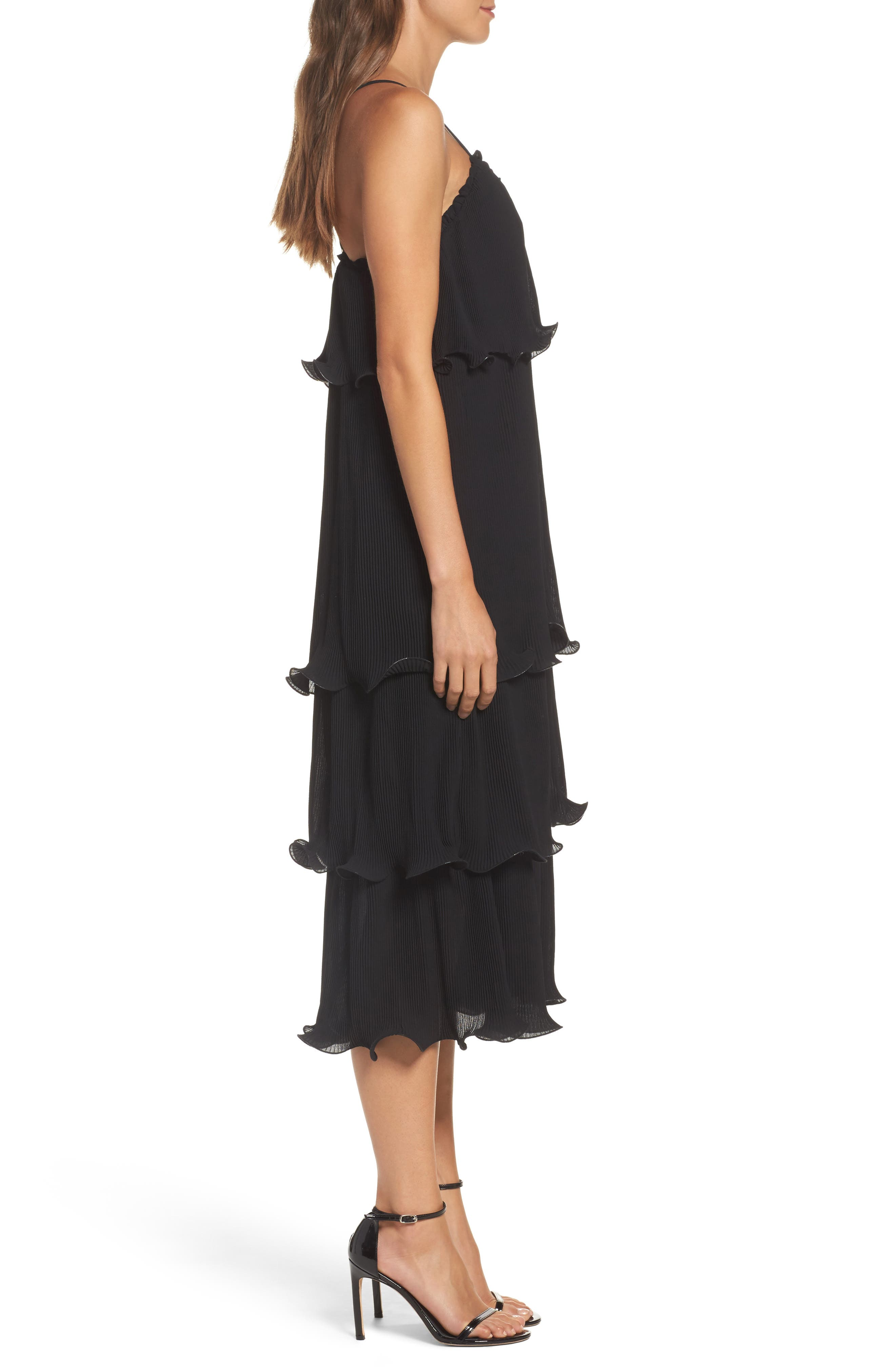 Tiered Midi Dress,                             Alternate thumbnail 3, color,                             001