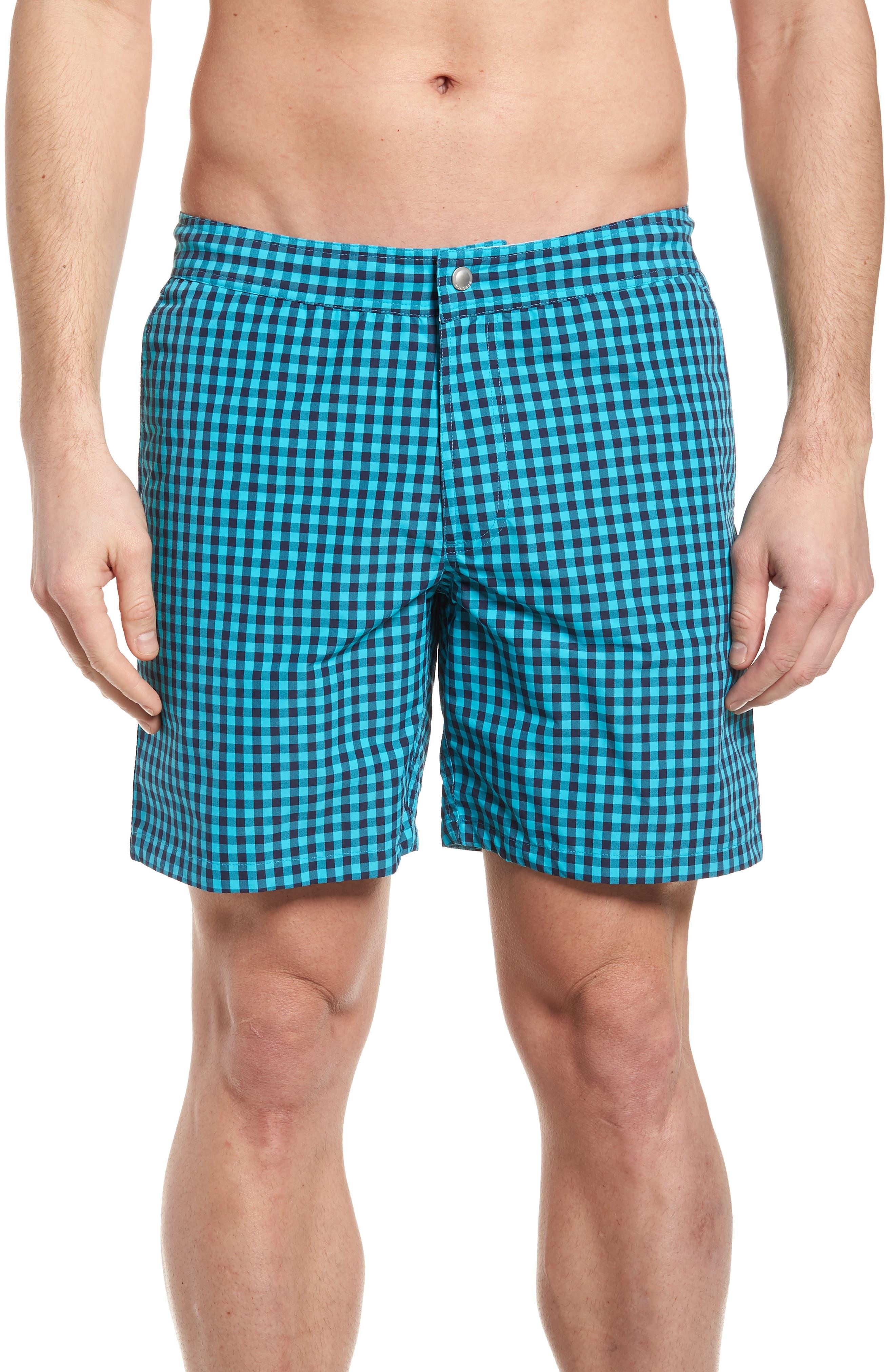 Gingham 7-Inch Swim Trunks,                         Main,                         color, 400