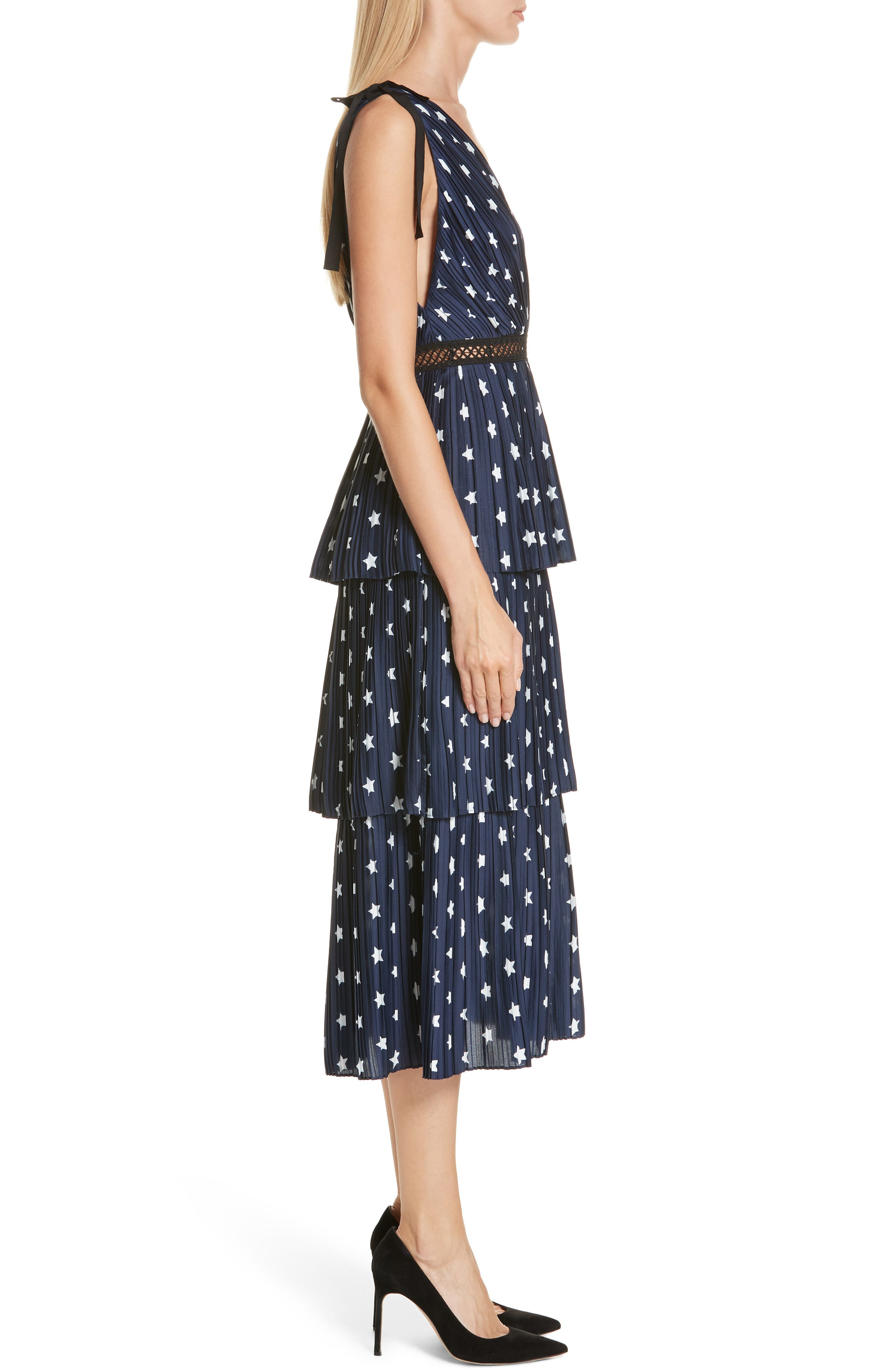 Star Print Tiered Midi Dress,                             Alternate thumbnail 3, color,                             400