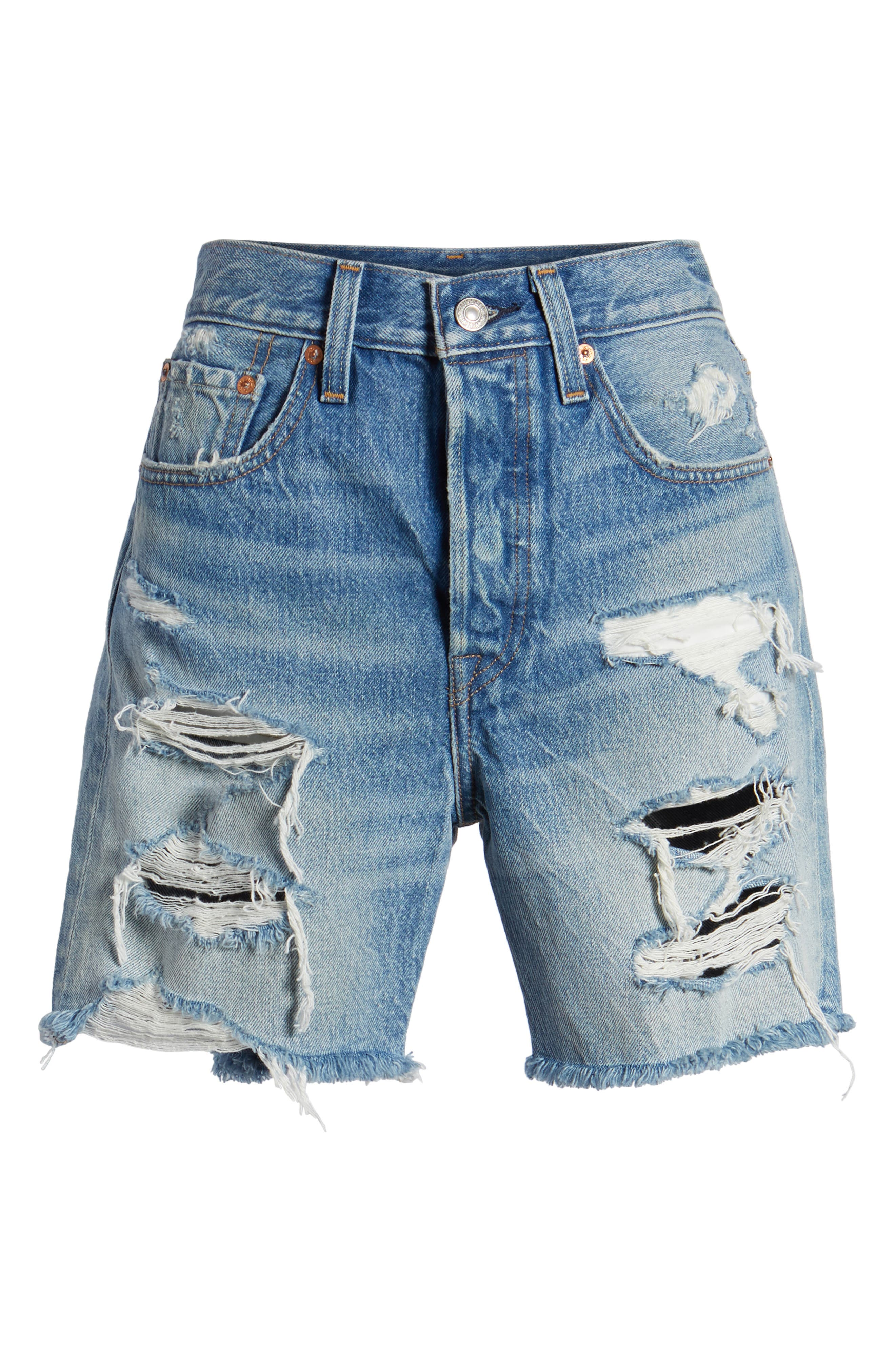 Indie Shredded Cutoff Denim Shorts,                             Alternate thumbnail 7, color,                             450