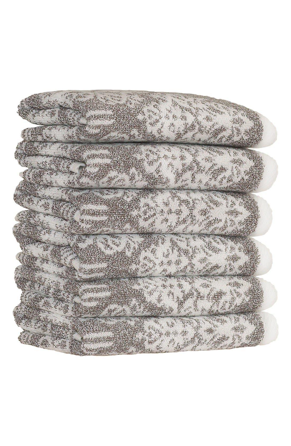 Linum 'Gioia' Turkish Cotton Washcloths,                             Main thumbnail 1, color,                             VINTAGE BROWN