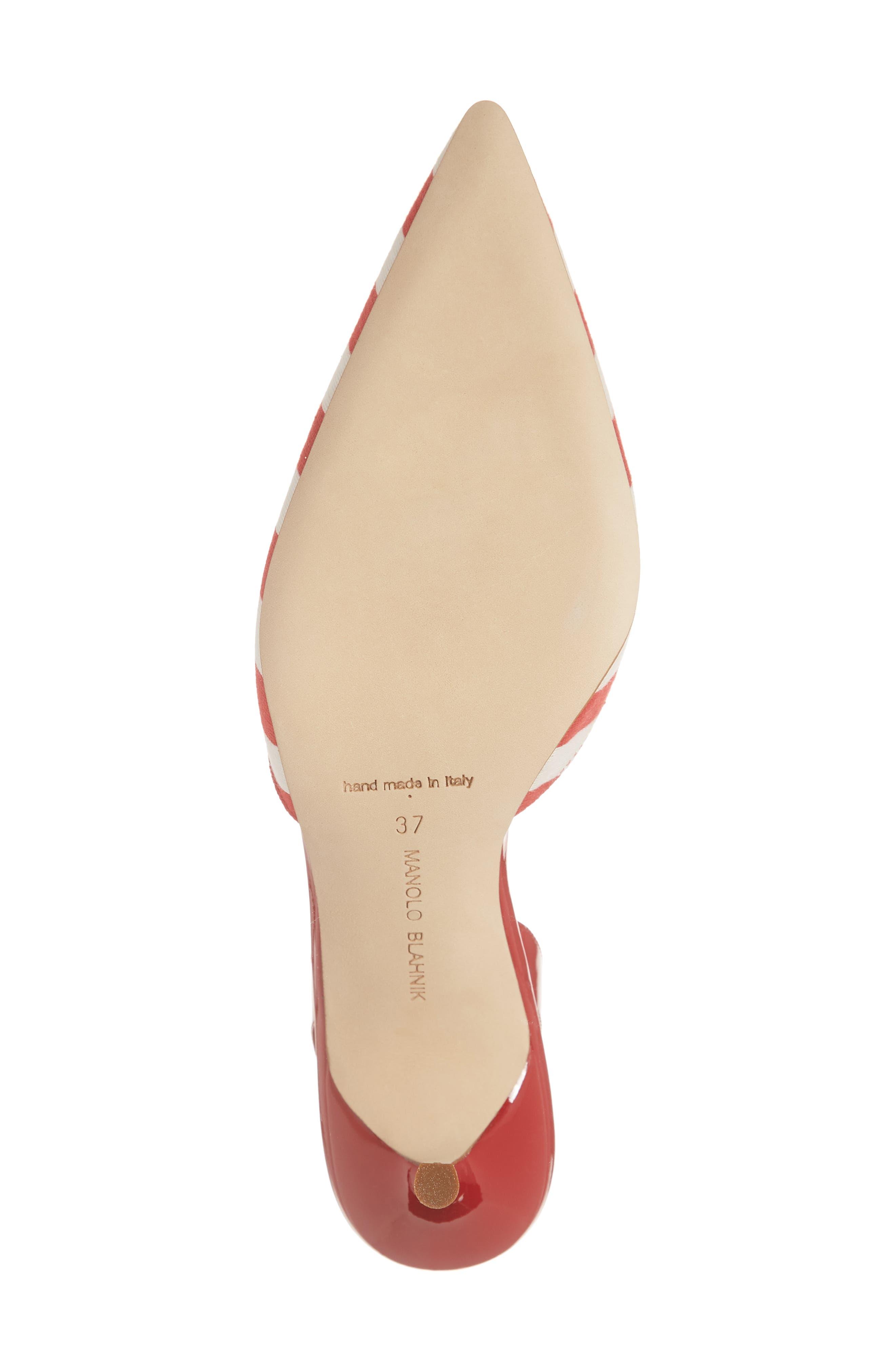 'Carolyne' Pointy Toe Slingback Pump,                             Alternate thumbnail 6, color,                             RED/ WHITE STRIPE